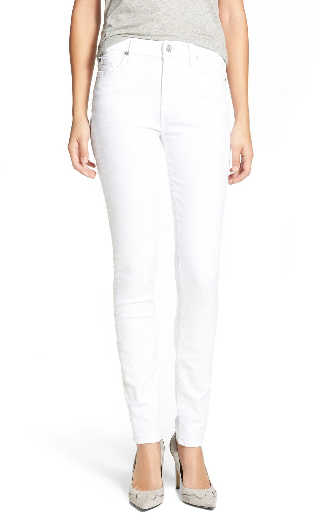 7 For All Mankind® 'The Skinny' Skinny Jeans (Clean White)