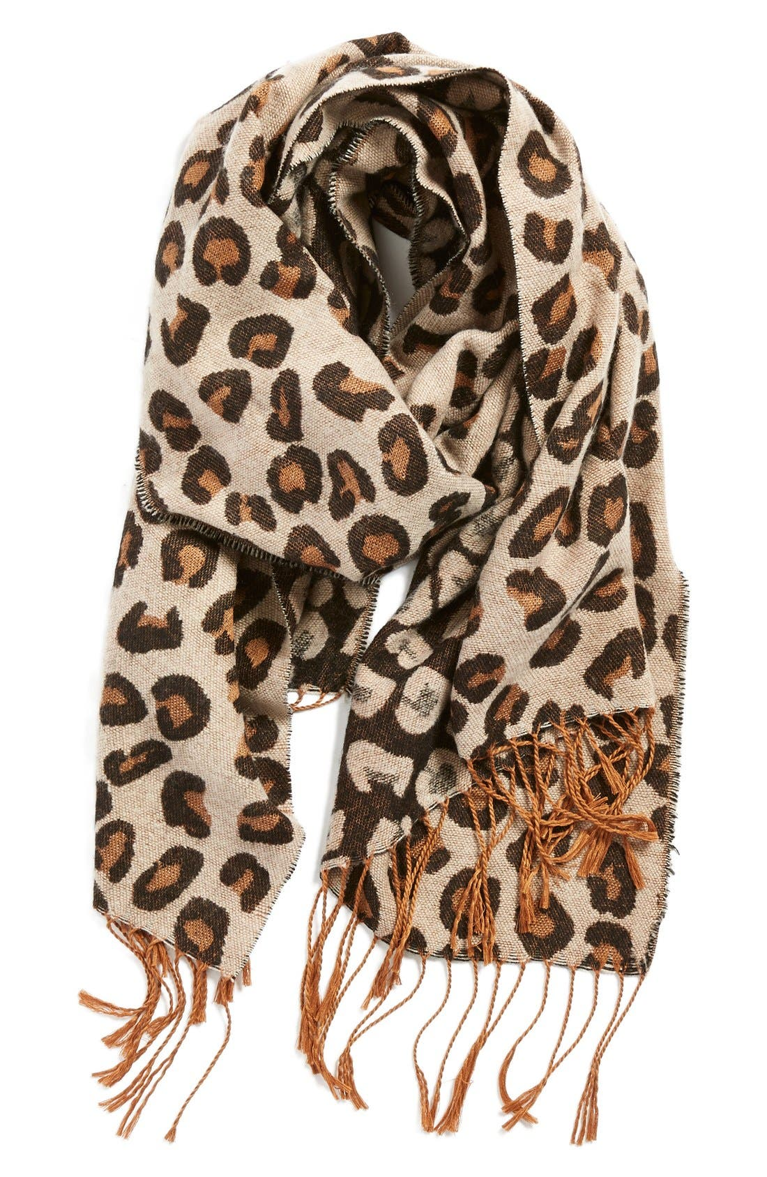 Alternate Image 1 Selected - BP Leopard Print Fringe Oblong Scarf