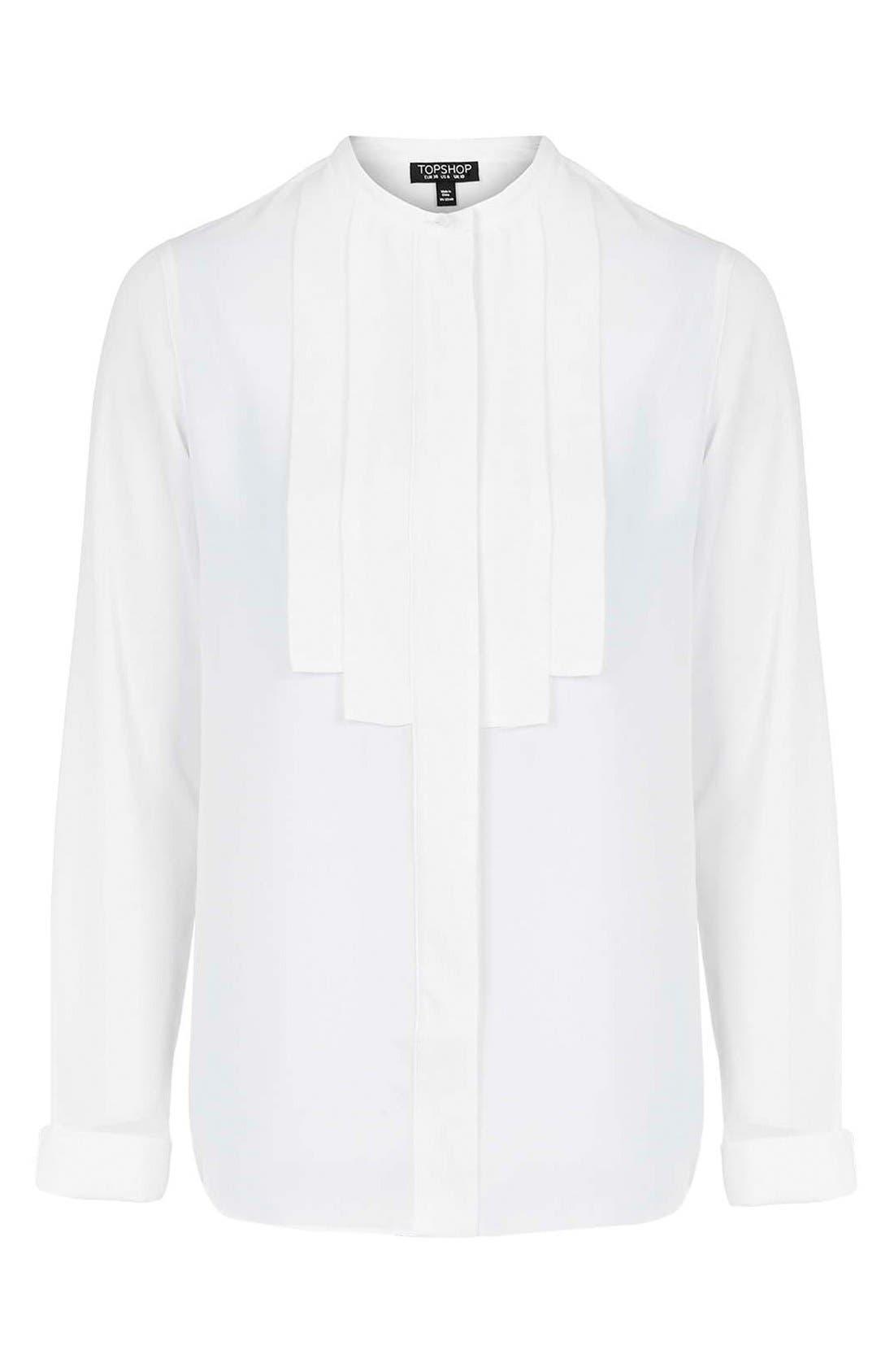 Alternate Image 4  - Topshop Pleated Bib Button Front Shirt