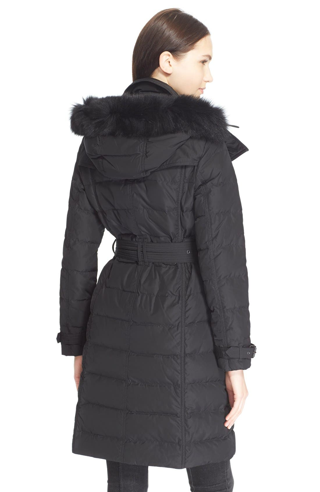 Alternate Image 2  - Burberry Brit 'Allerdale' Genuine Fox Fur Trim Hooded Quilted Down Coat
