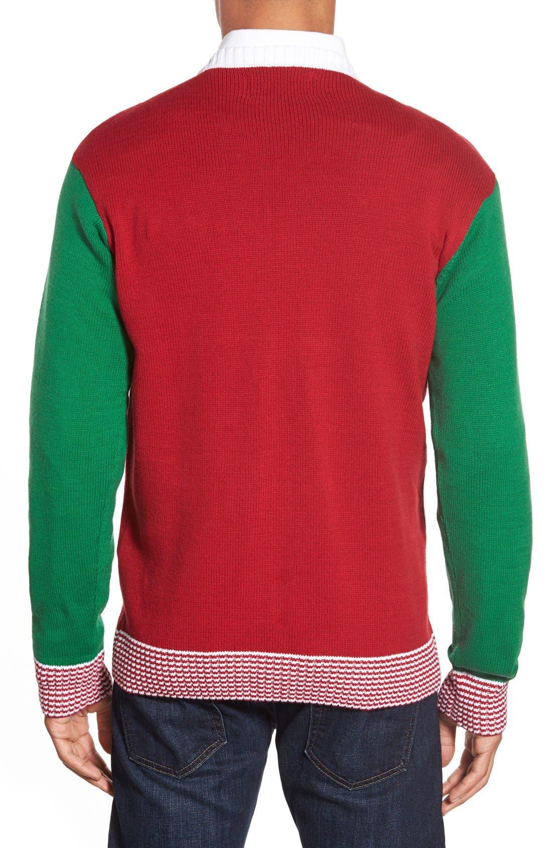 Alternate Image 2  - Ugly Christmas Sweater 'Nutcracker Face' Holiday Crewneck Sweater