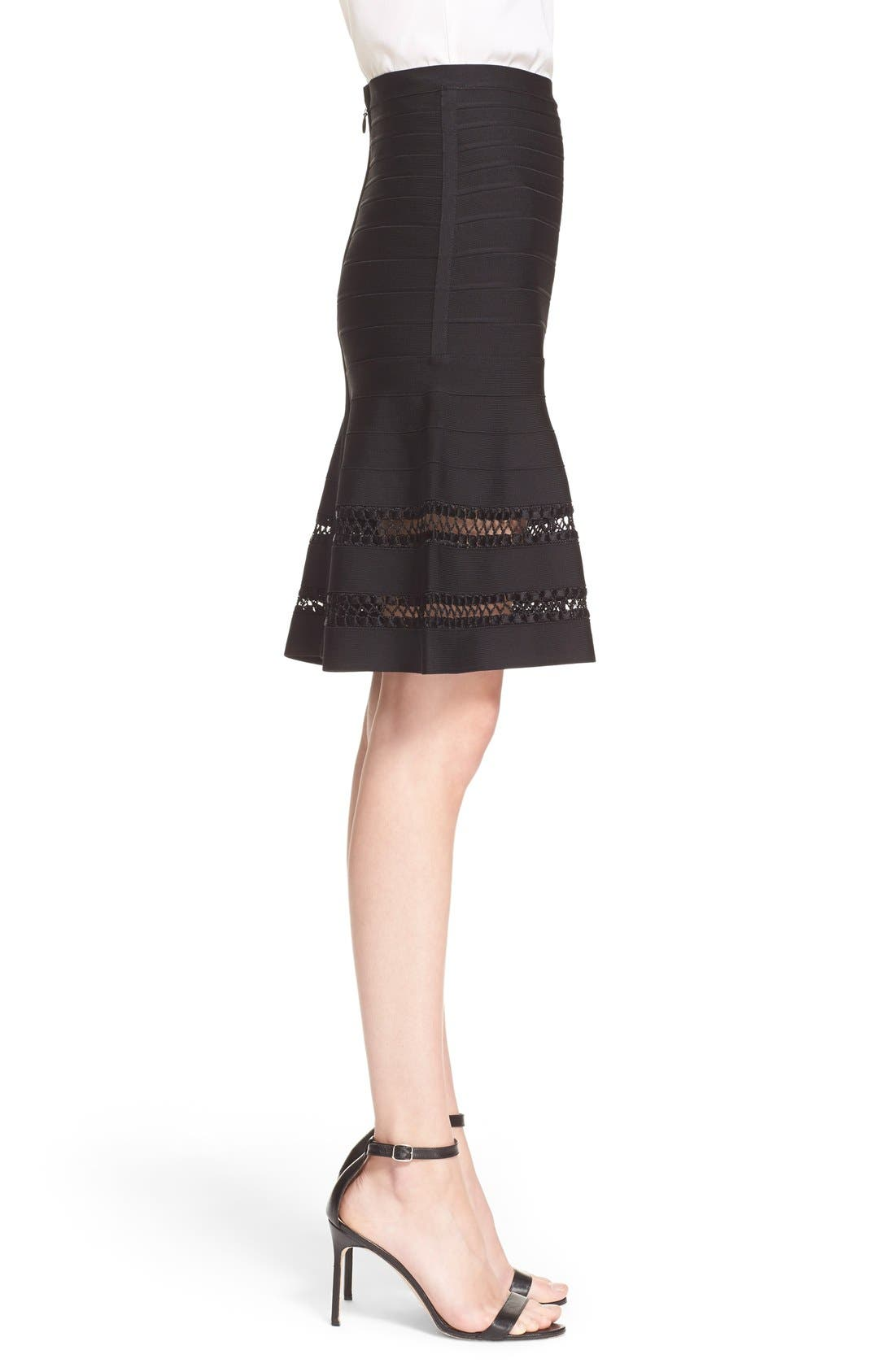 Alternate Image 3  - Herve Leger 'Amelie' Crochet Cage Stitch Bandage Skirt