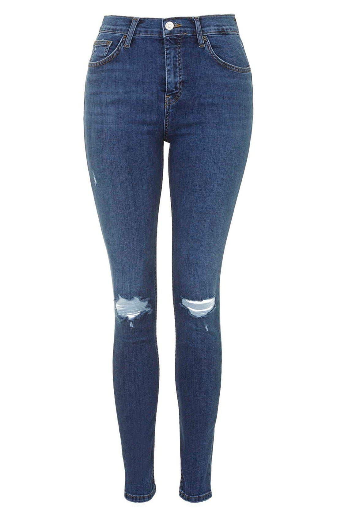 Alternate Image 4  - Topshop Moto 'Jamie' Ripped Ankle Jeans (Mid Denim) (Regular & Short)