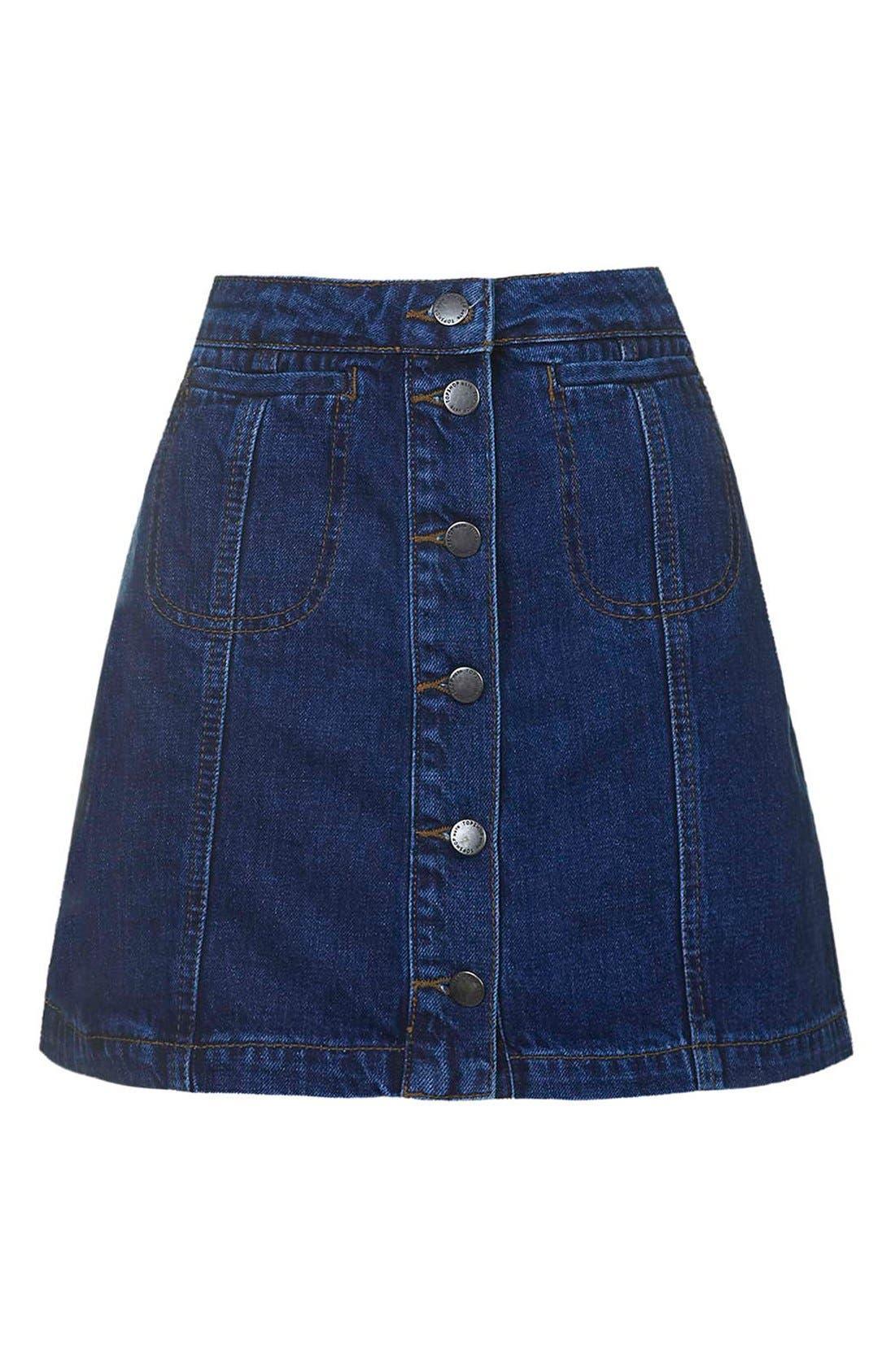 Alternate Image 4  - TopshopButton Front Denim Skirt