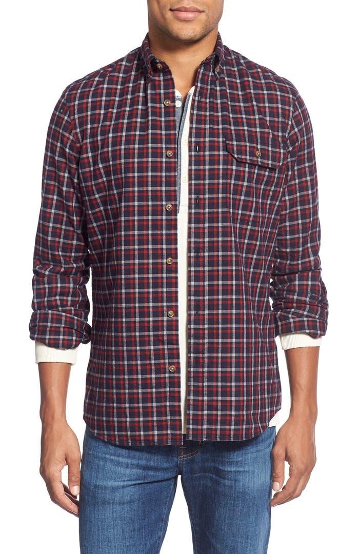 Nordstrom men 39 s shop trim fit long sleeve plaid flannel for Trim fit flannel shirts