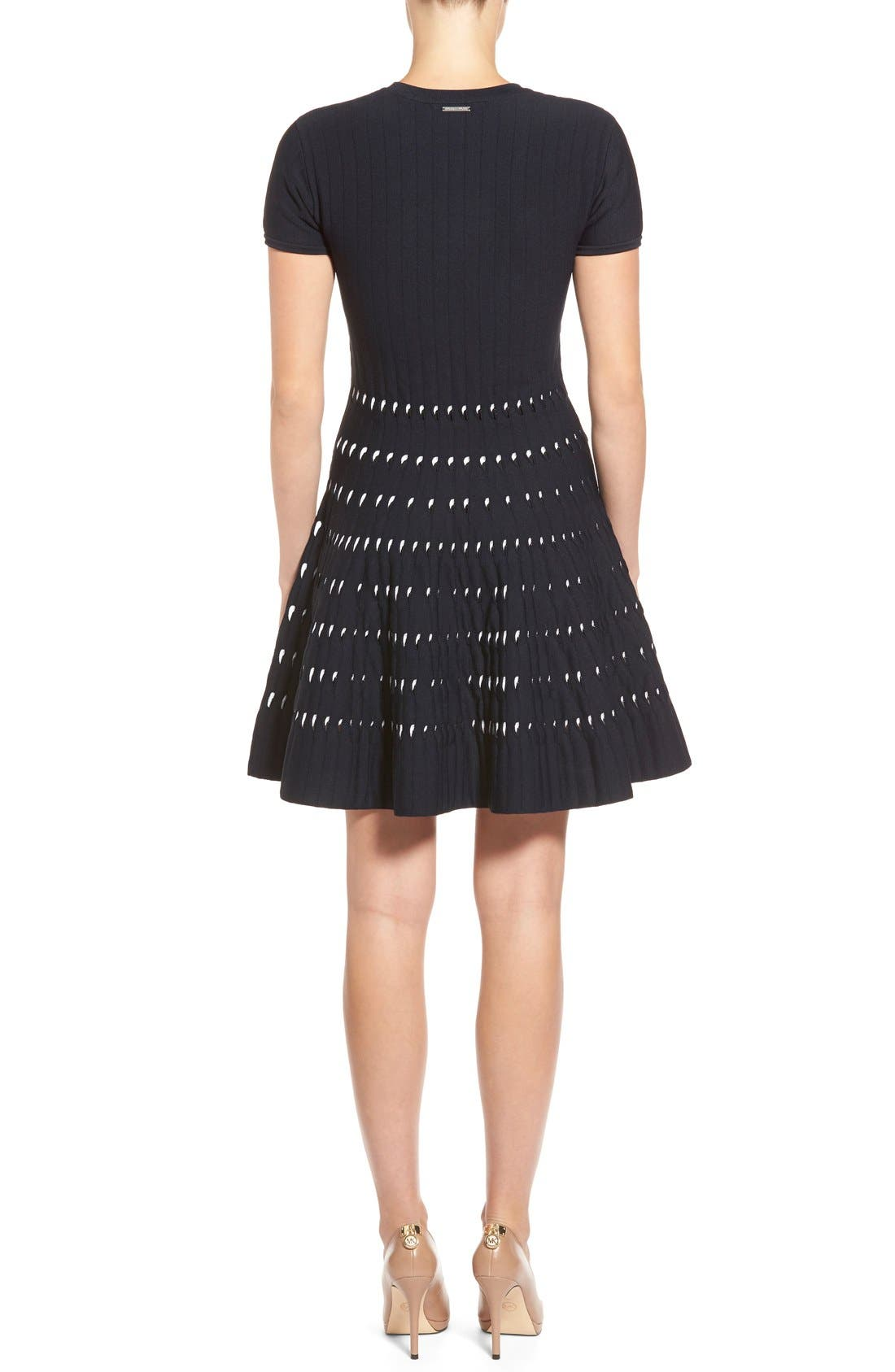 Alternate Image 2  - MICHAEL Michael Kors Pointelle Detail Sweater Knit Fit & Flare Dress