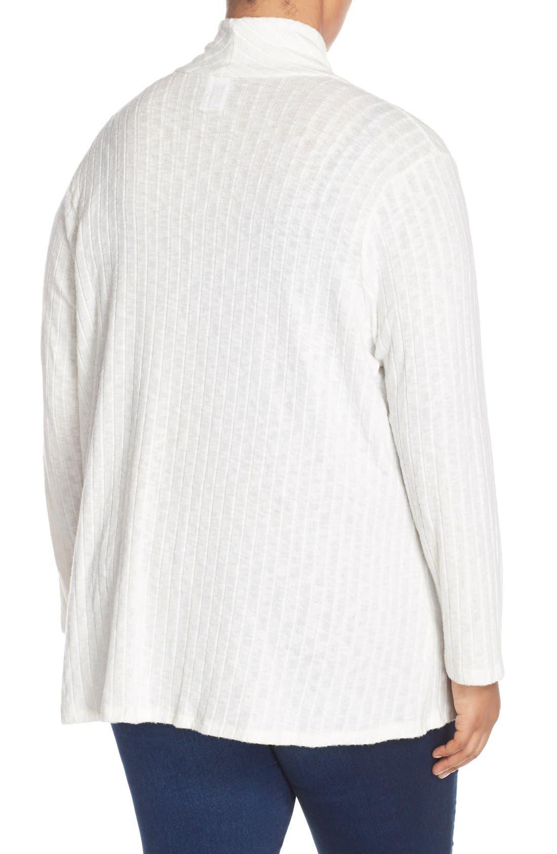 Alternate Image 2  - Bobeau Rib Knit One-Button Cardigan (Plus Size)