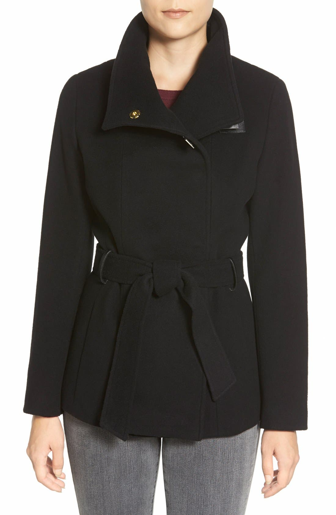 Alternate Image 1 Selected - Cole Haan Faux Leather Trim Belted Asymmetrical Coat