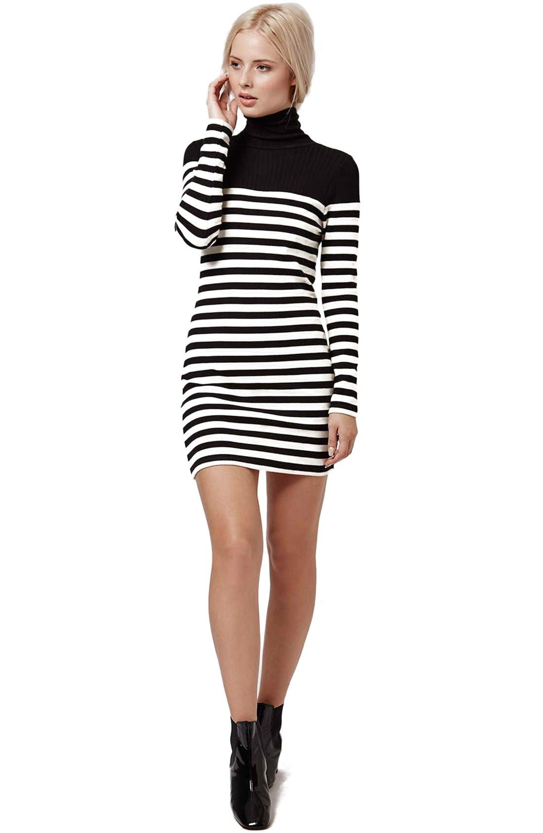 Alternate Image 2  - Topshop Turtleneck Long Sleeve Body-Con Dress (Petite)