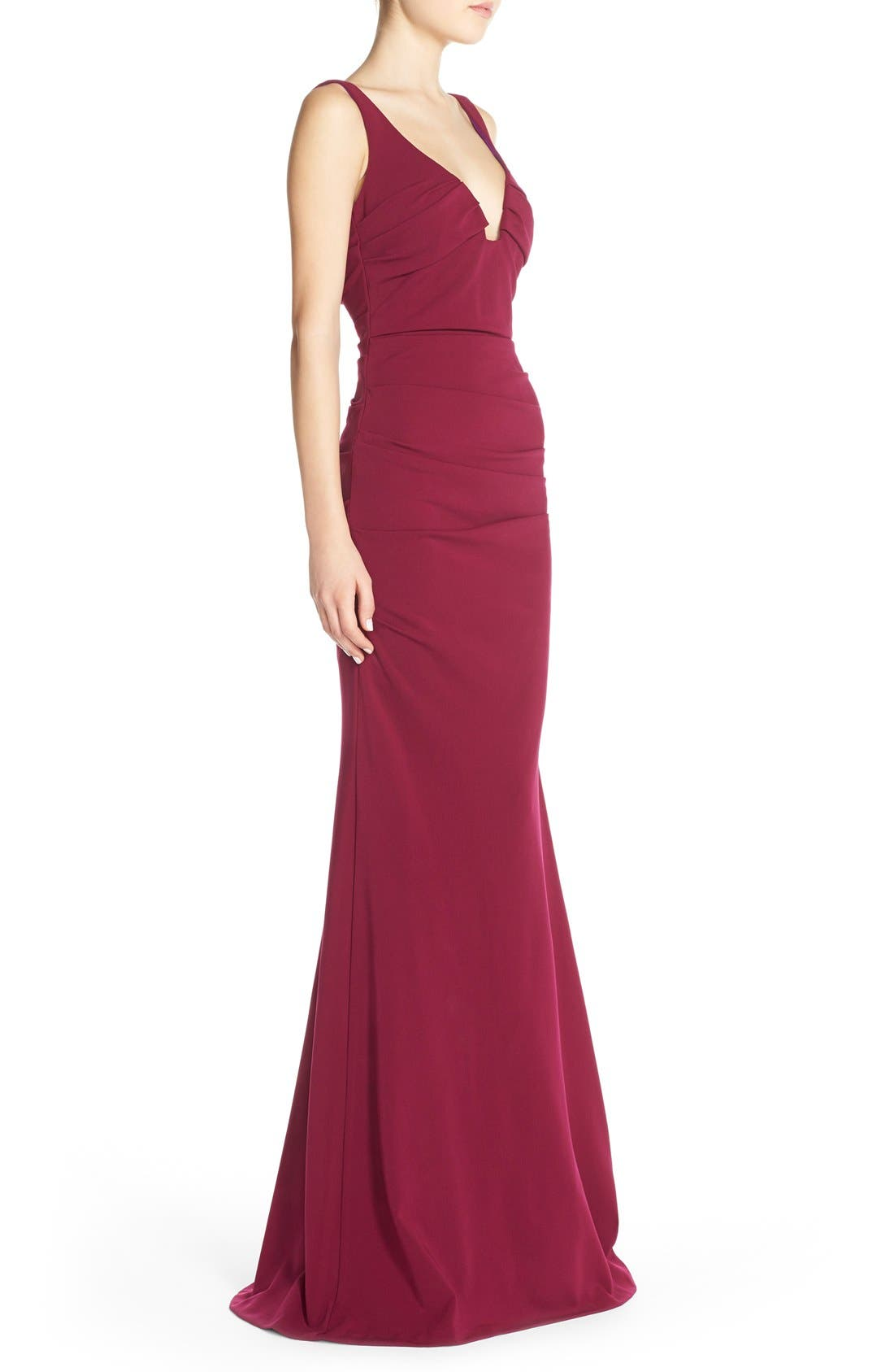 Alternate Image 3  - Nicole Miller Ruched Jersey Gown