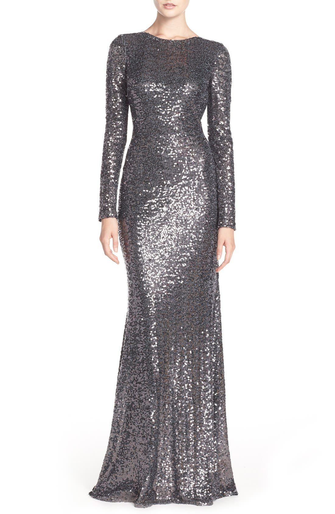 Alternate Image 1 Selected - Badgley Mischka Cowl Back Sequin Gown