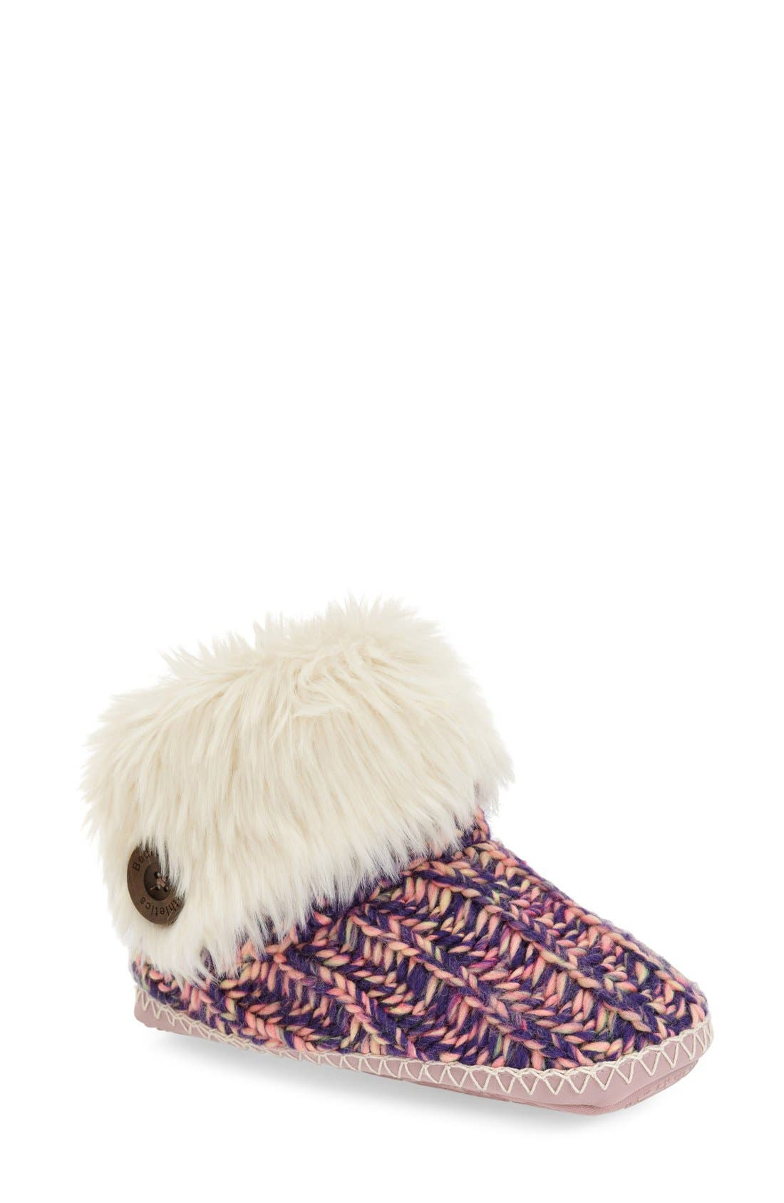 Alternate Image 1 Selected - Bedroom Athletics 'Toni' Faux Fur Knit Slipper Bootie (Women)