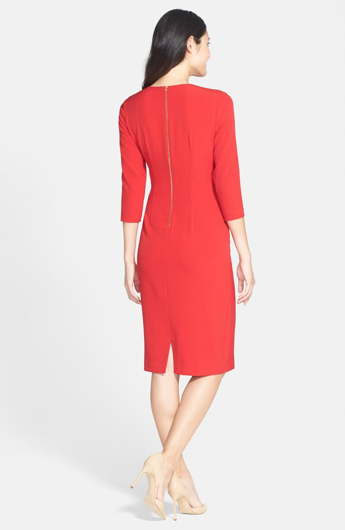 Alternate Image 2  - Maggy London Gathered Crepe Sheath Dress