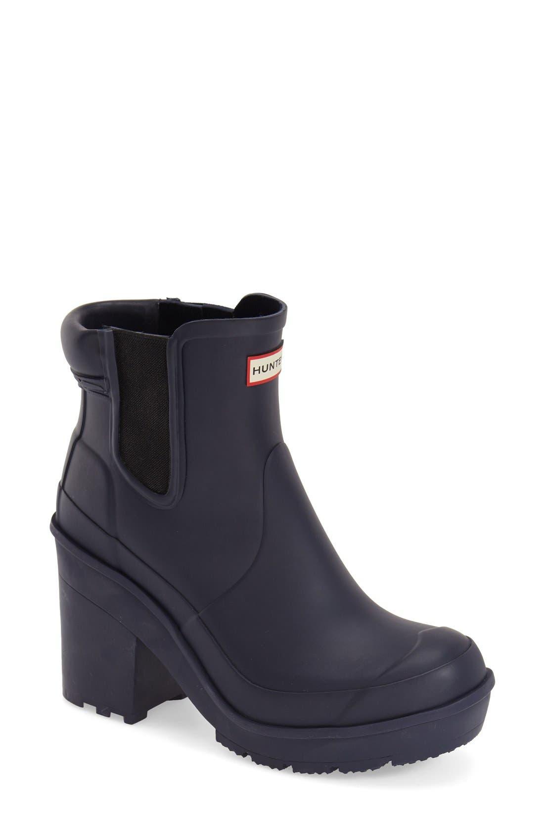 Main Image - Hunter 'Original - Block Heel' Chelsea Rain Boot (Women)