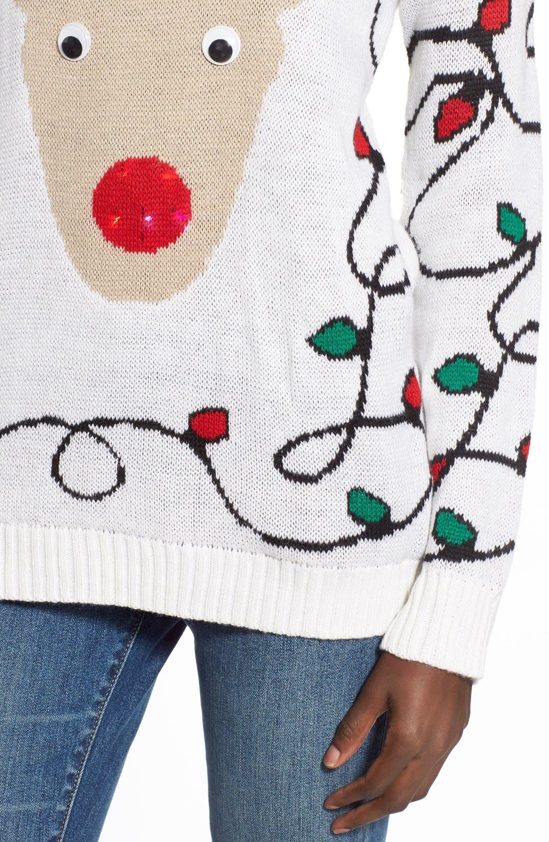 Alternate Image 4  - Derek Heart Light-Up Reindeer Jacquard Christmas Sweater