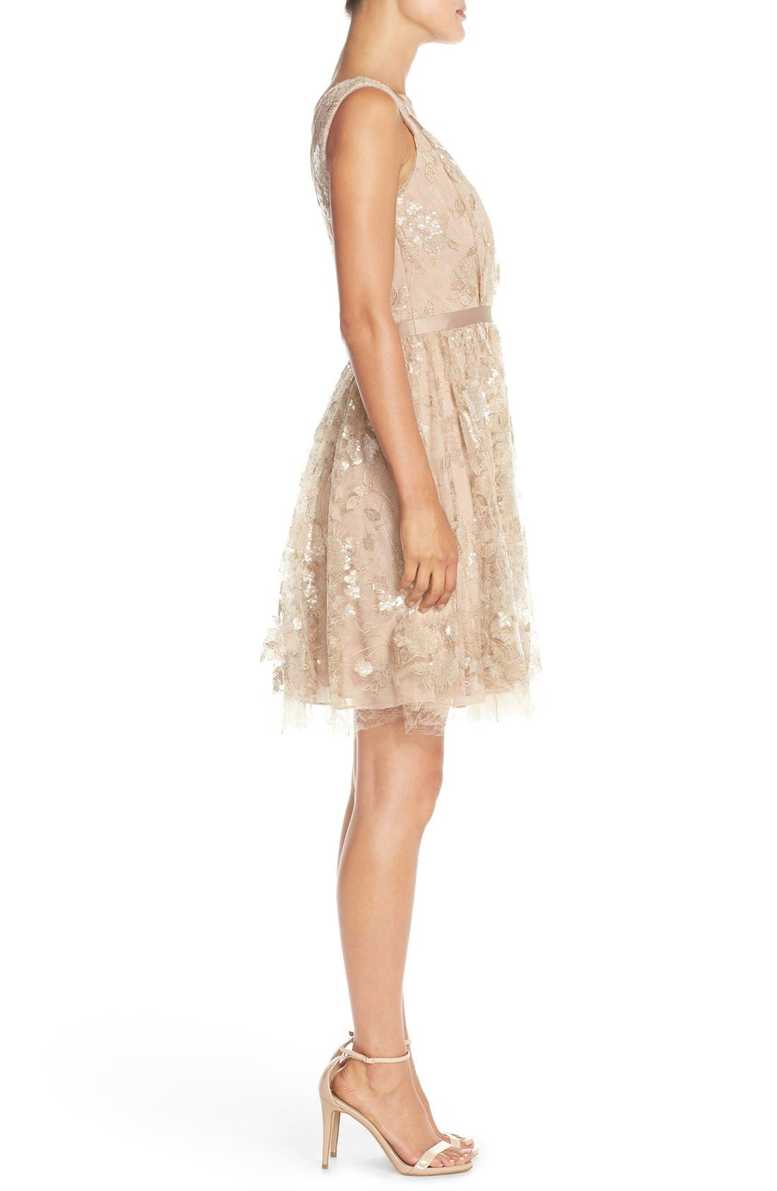 Alternate Image 3  - Vera Wang Lace & Sequin Sleeveless Fit & Flare Dress
