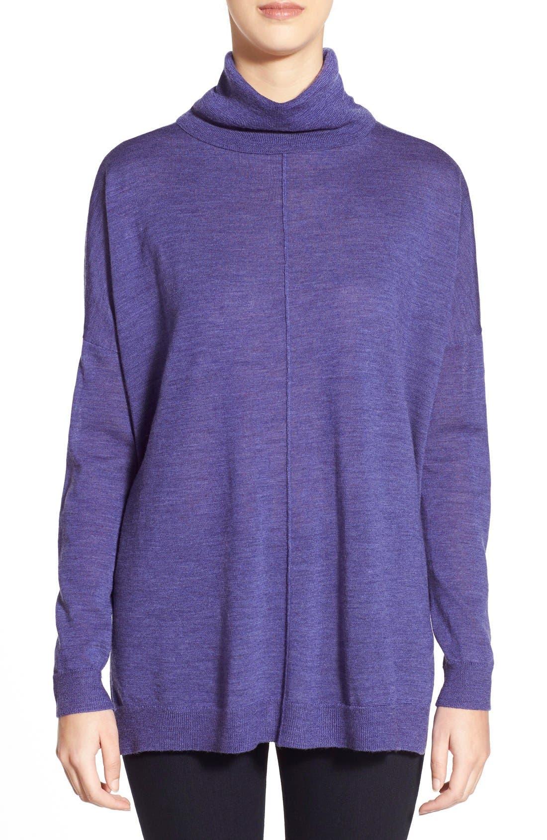 Alternate Image 1 Selected - Eileen Fisher BoxyMerino Turtleneck Sweater