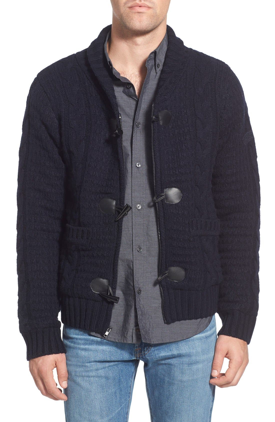 Schott NYC Cable Knit Shawl Collar Zip Cardigan