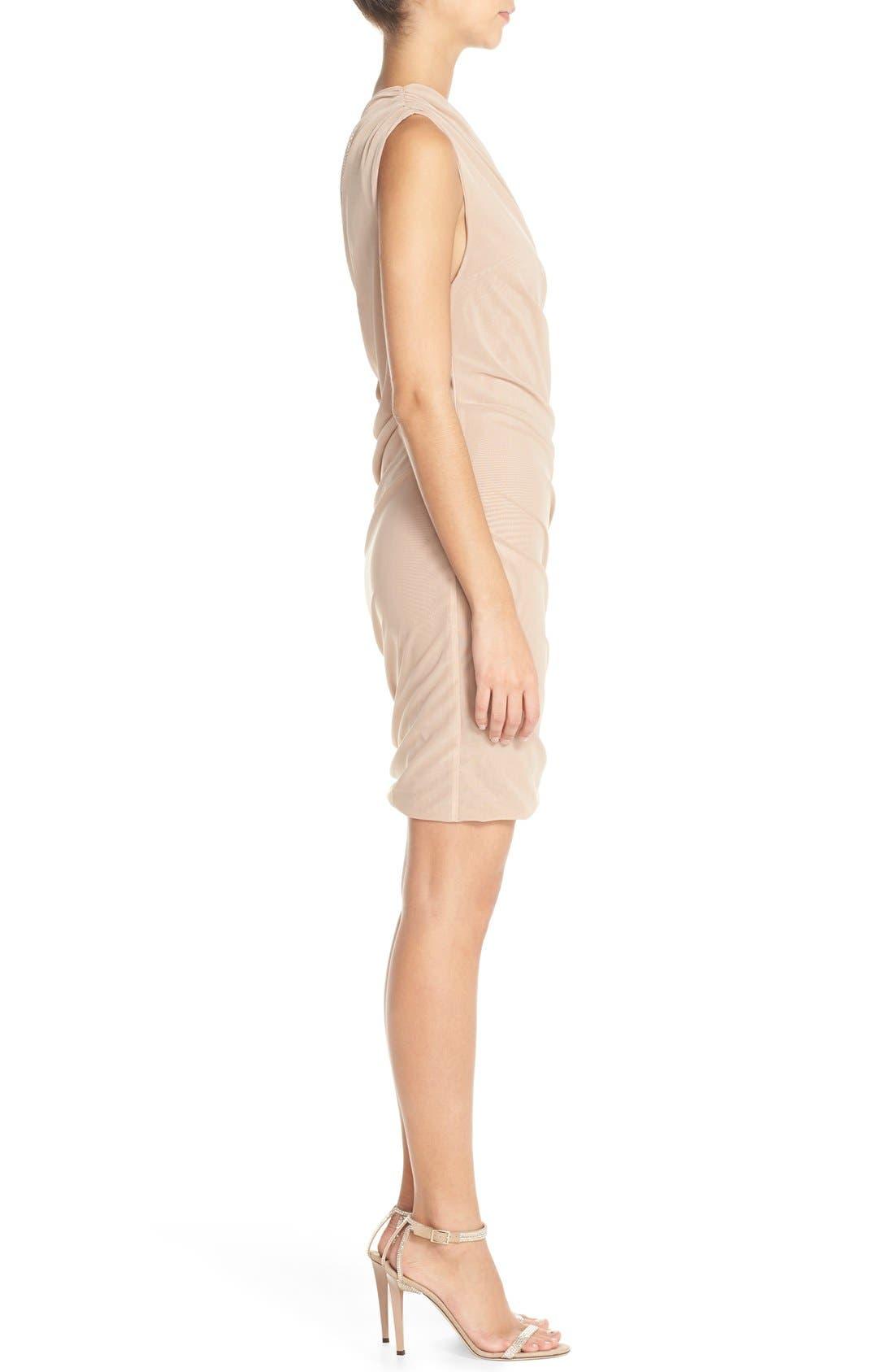Alternate Image 3  - Misha Collection 'Shani' One-Shoulder Mesh Body-Con Dress