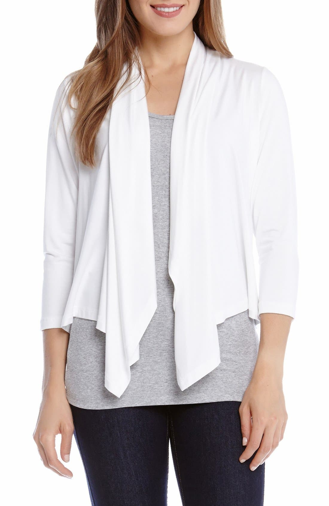 Main Image - Karen Kane Three Quarter Sleeve Drape Front Cardigan