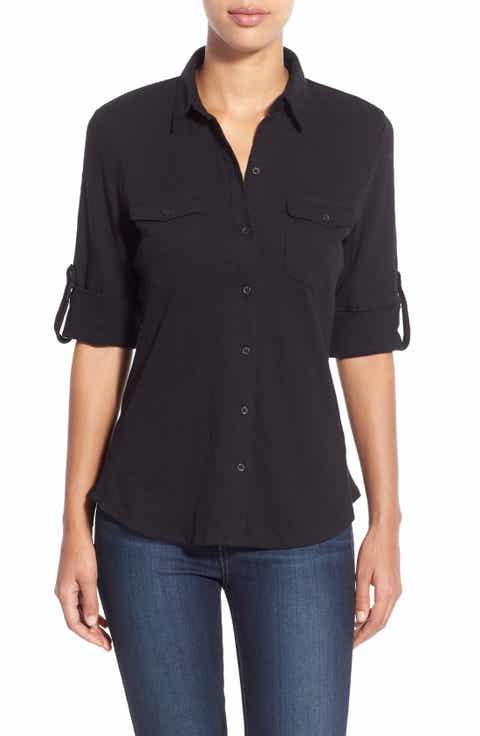 Caslon® Roll Sleeve Cotton Knit Shirt (Regular   Petite)