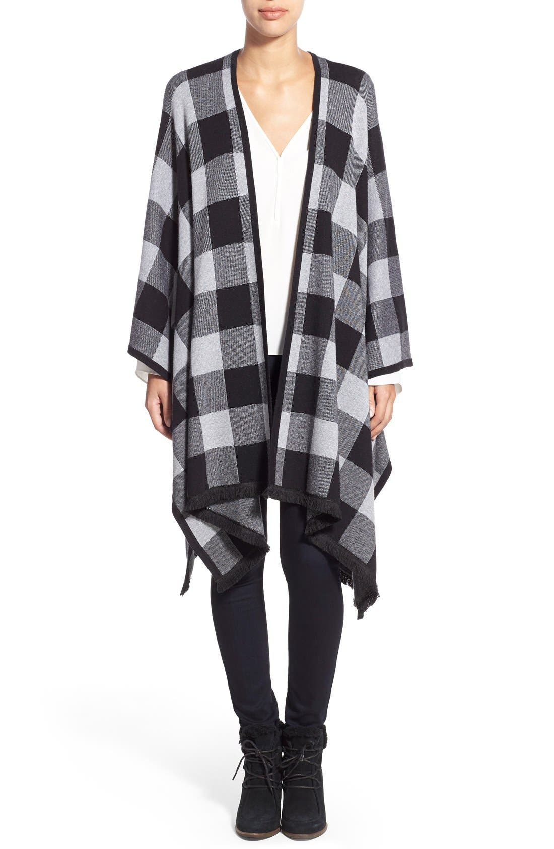Main Image - kensie Check Plaid Blanket Cardigan