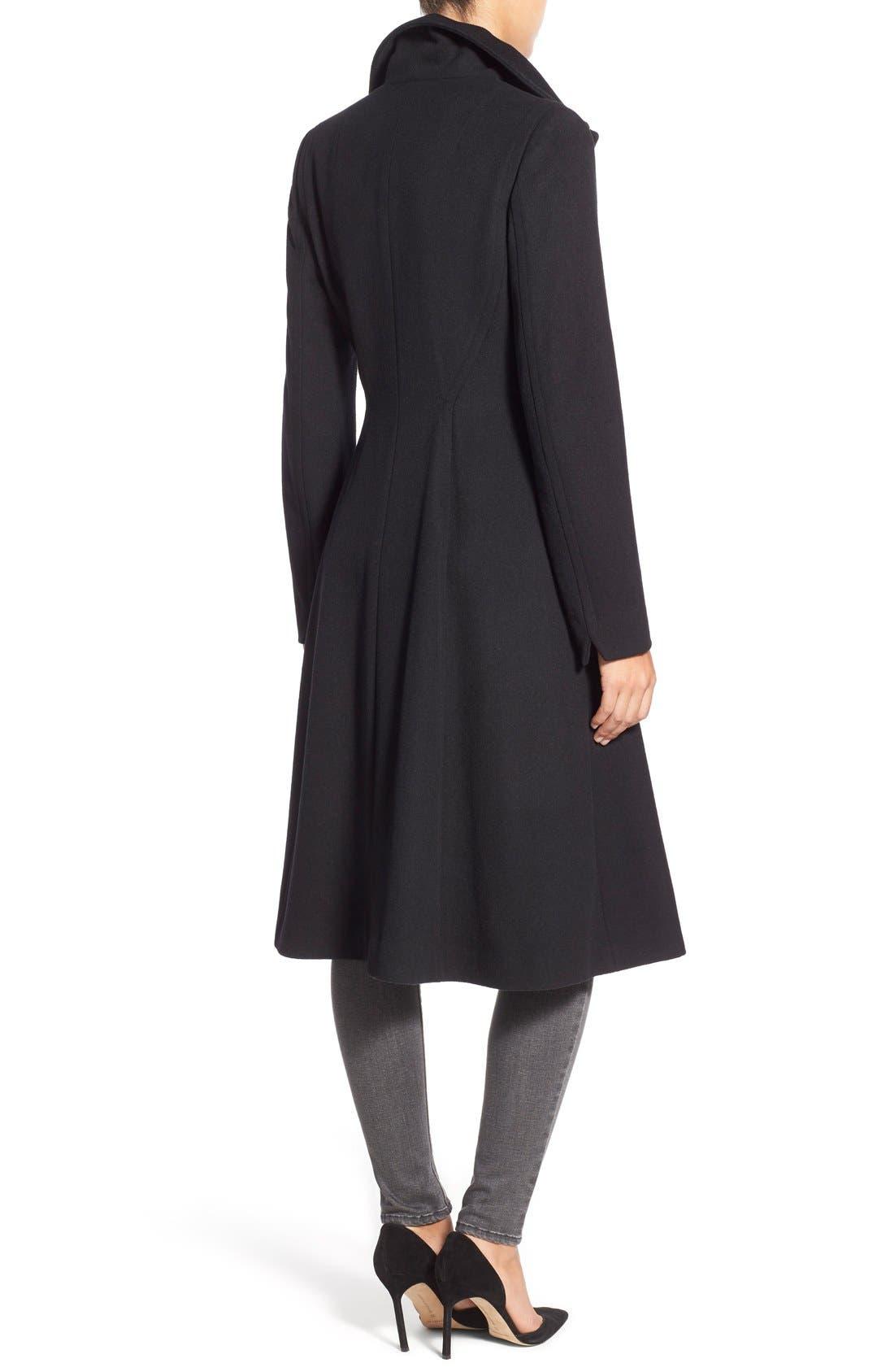 Alternate Image 2  - Vera Wang Herringbone Long Fit & Flare Coat