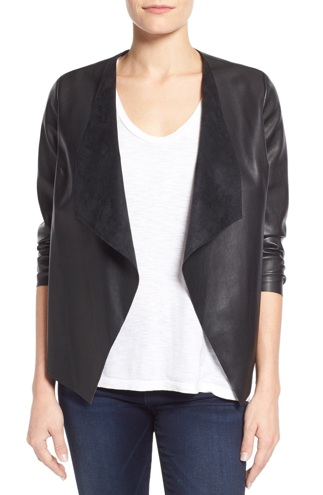 Alternate Image 1 Selected - KUT from the Kloth 'Mira' Lace Back Faux Leather Jacket