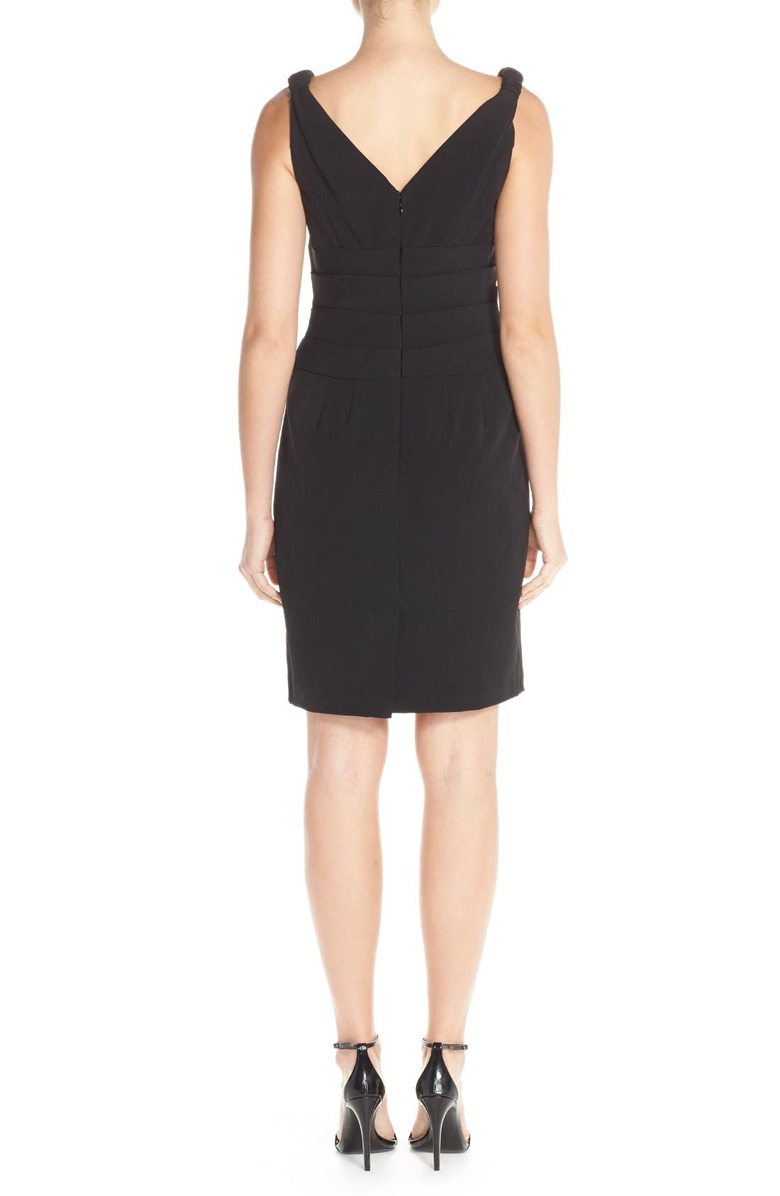Alternate Image 2  - Adrianna Papell Knot Shoulder Crepe Sheath Dress (Regular & Petite)
