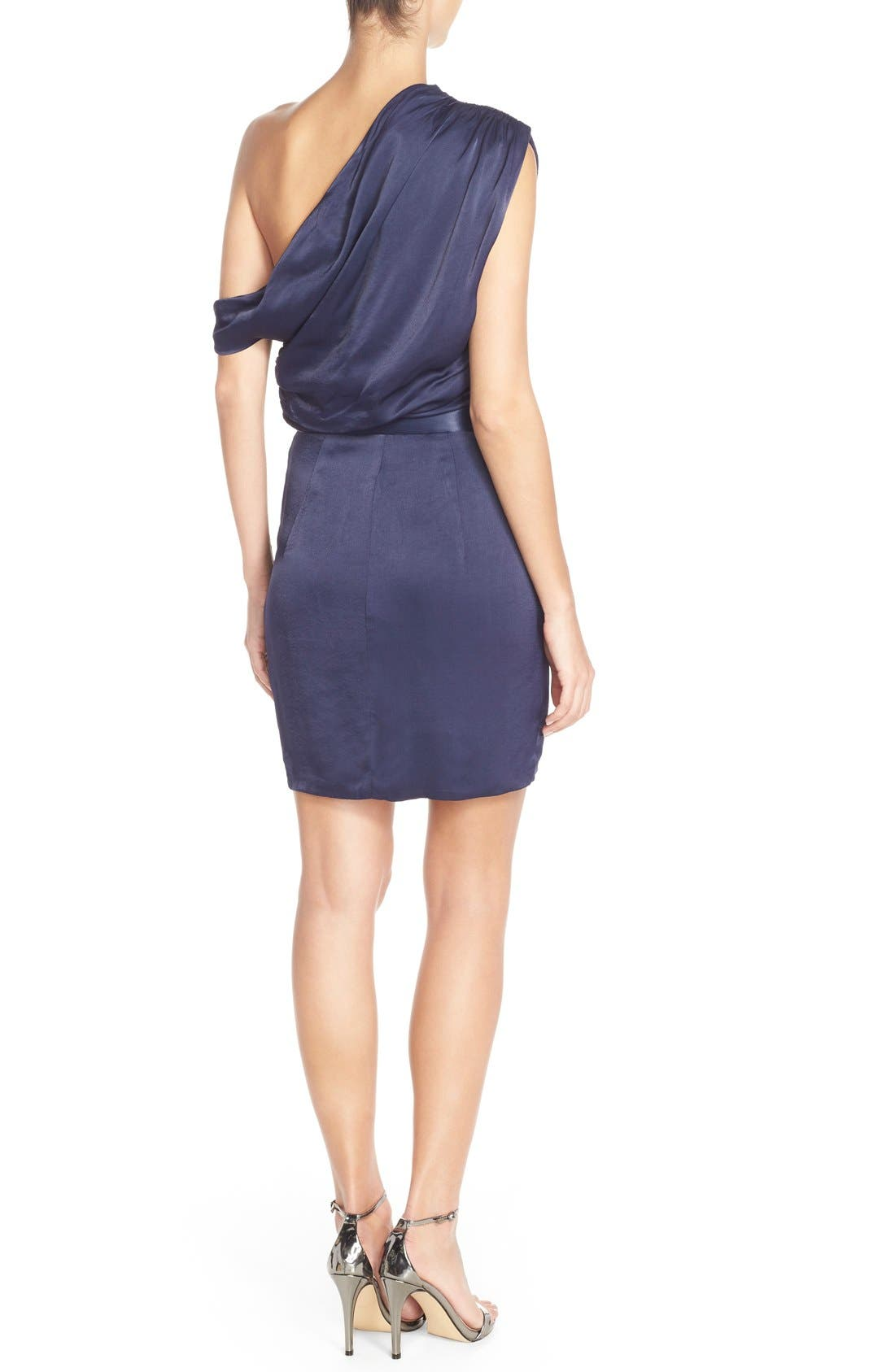 Alternate Image 2  - Misha Collection 'Trista' One Shoulder Satin Sheath Dress