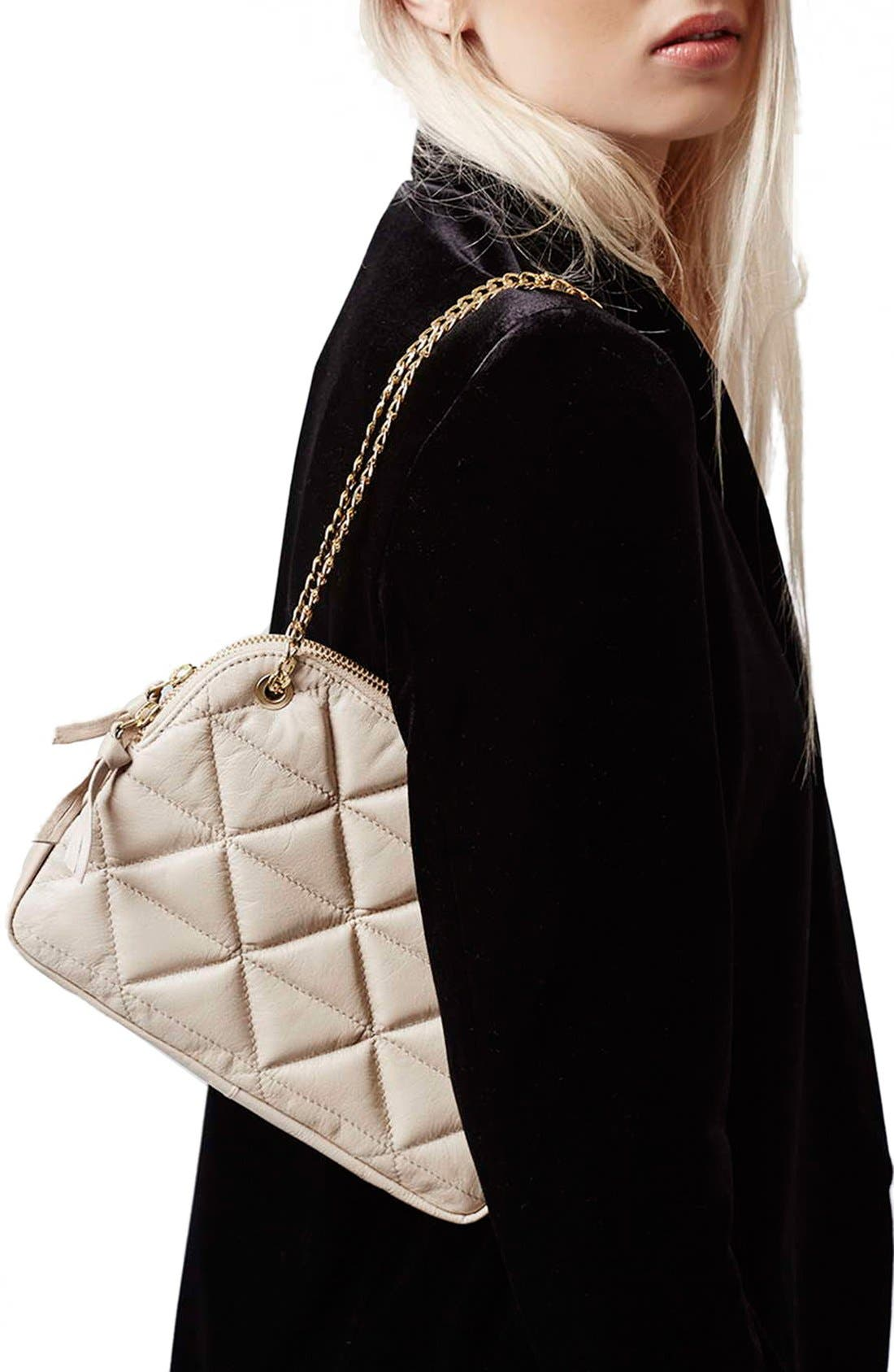 Alternate Image 2  - Topshop Quilted Leather Shoulder Bag