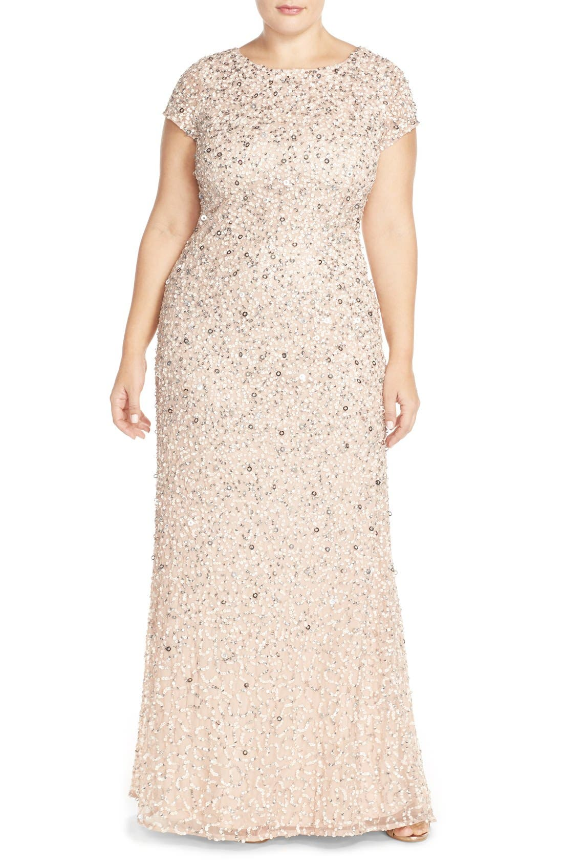 Main Image - Adrianna Papell Embellished Scoop Back Gown (Plus Size)