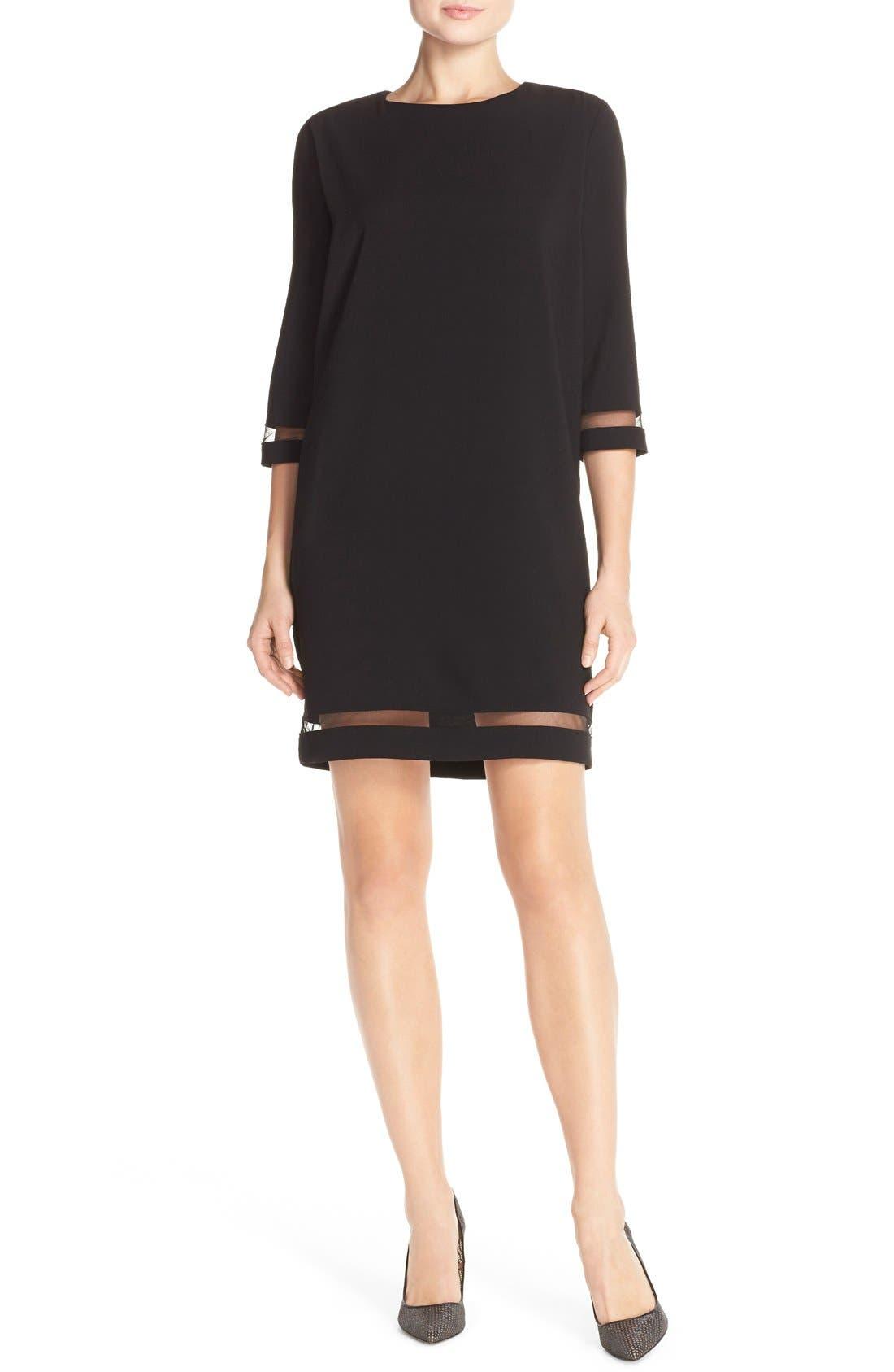 Alternate Image 4  - Tahari Crepe Shift Dress with Mesh Trim (Regular & Petite)