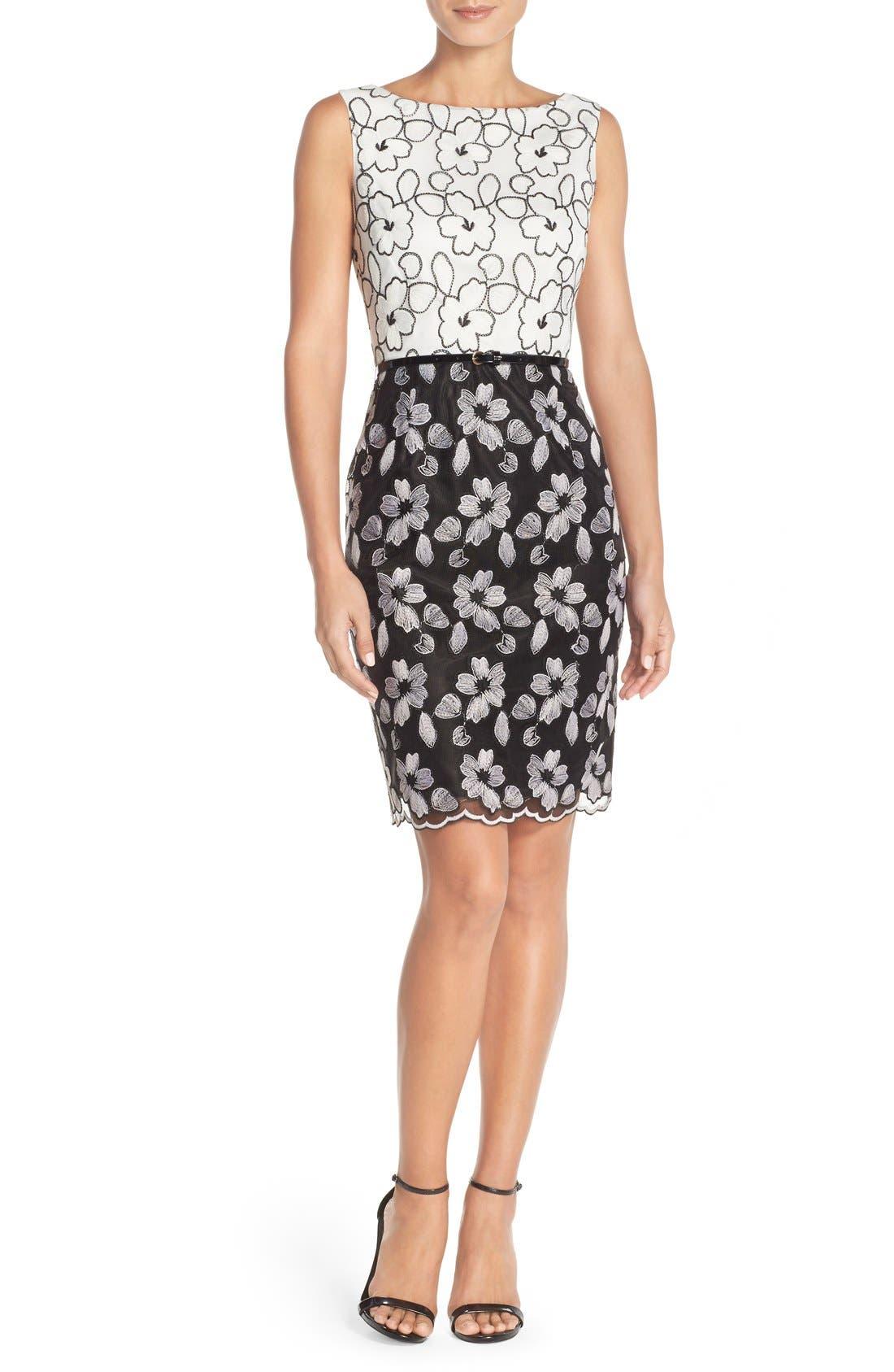 Main Image - Ellen Tracy Floral Lace Sheath Dress With Belt