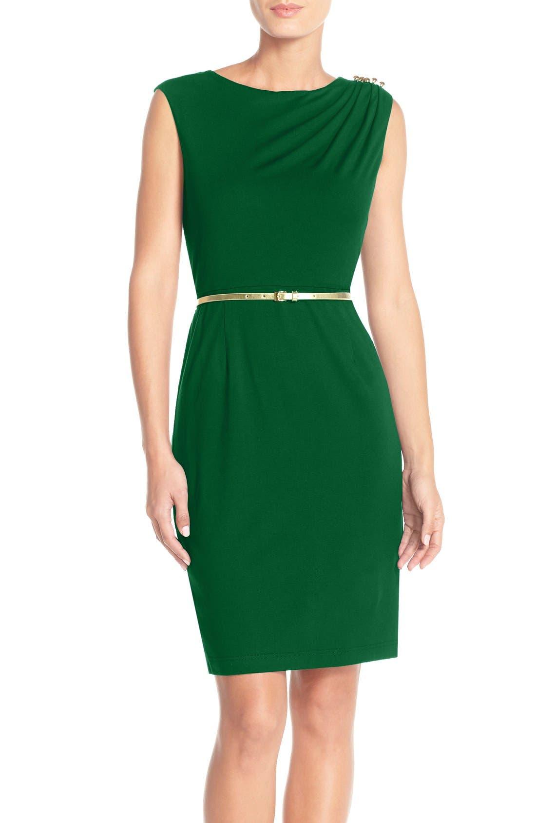 Main Image - Ellen Tracy Ruched Shoulder Jersey Sheath Dress