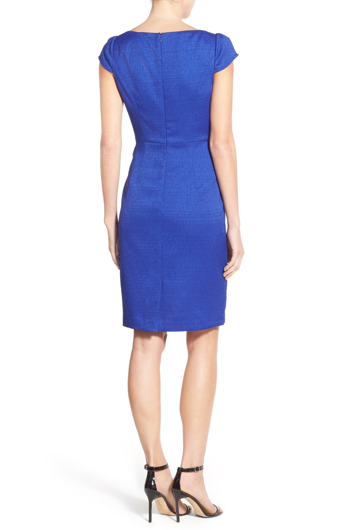 Alternate Image 2  - Adrianna Papell Cap Sleeve Jacquard Sheath Dress