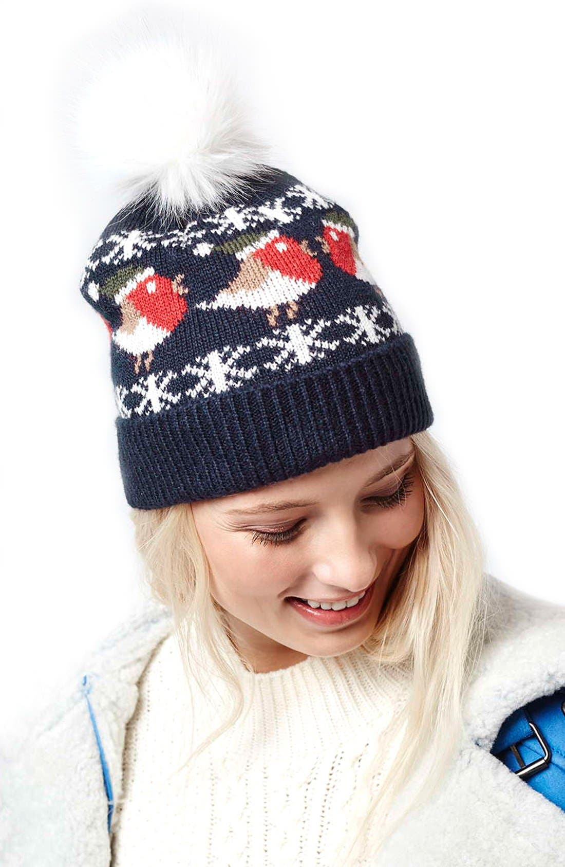 Main Image - Topshop Robin Beanie with Faux Fur Pompom