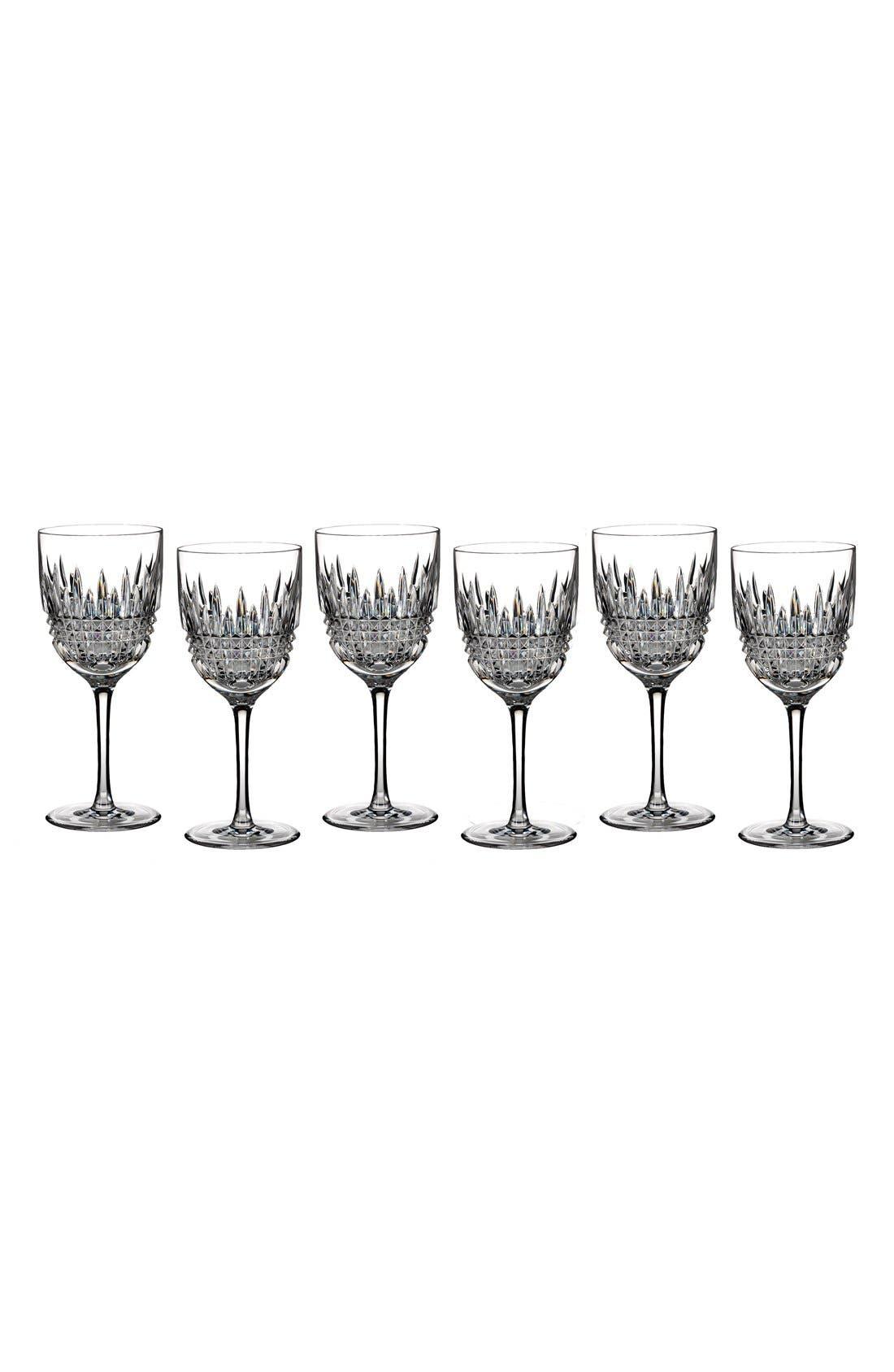 Waterford Lismore Diamond Set of 6 Lead Crystal White Wine Glasses