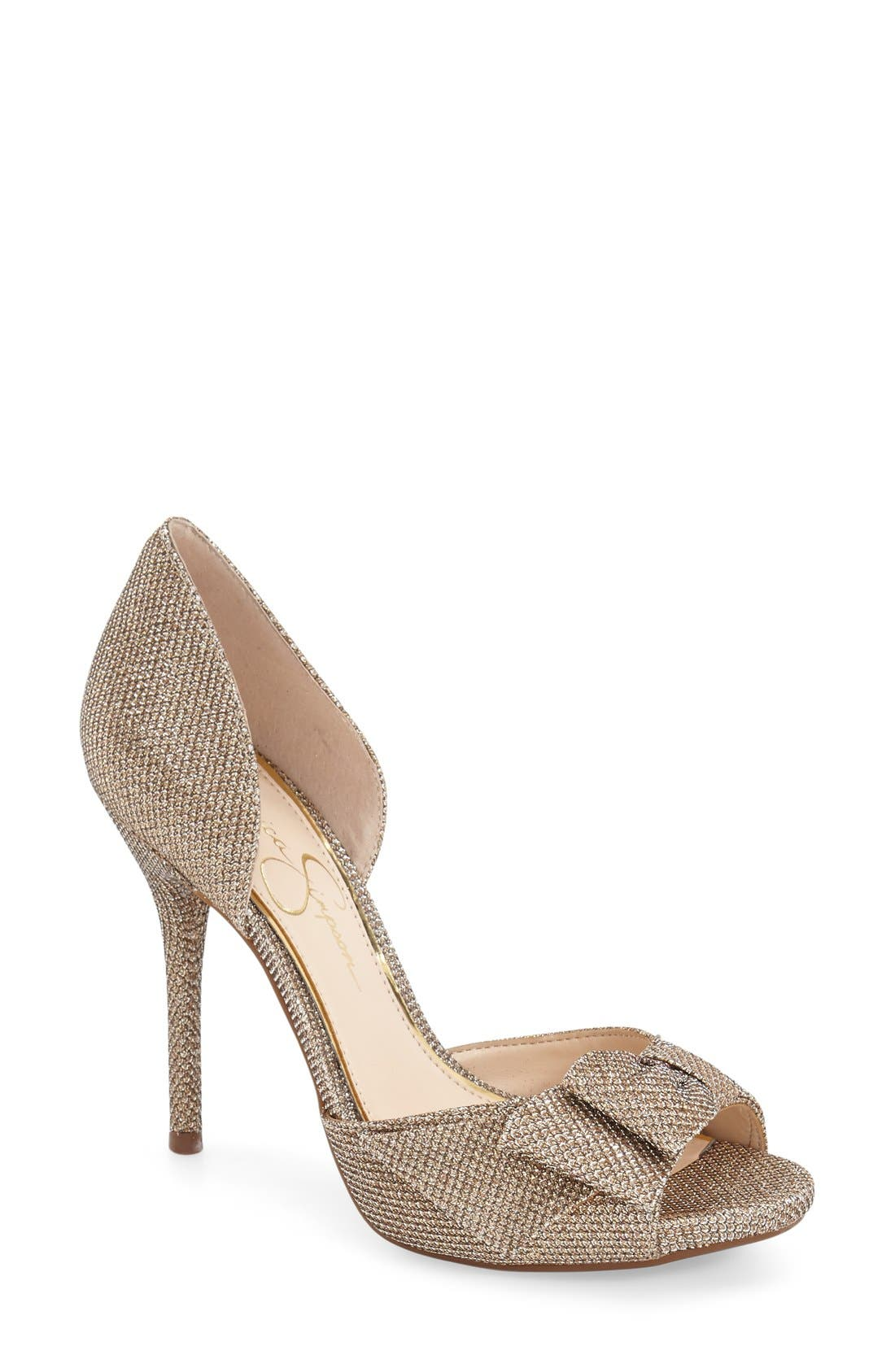 Alternate Image 1 Selected - Jessica Simpson 'Bealls' Bow Top Peep Toe Pump (Women)
