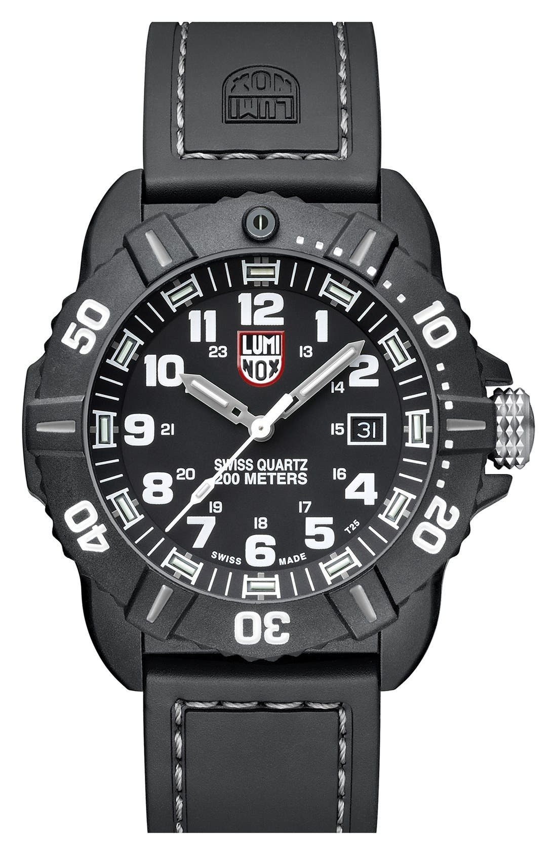 LUMINOX 'Coronado' Rubber Strap Watch, 44mm