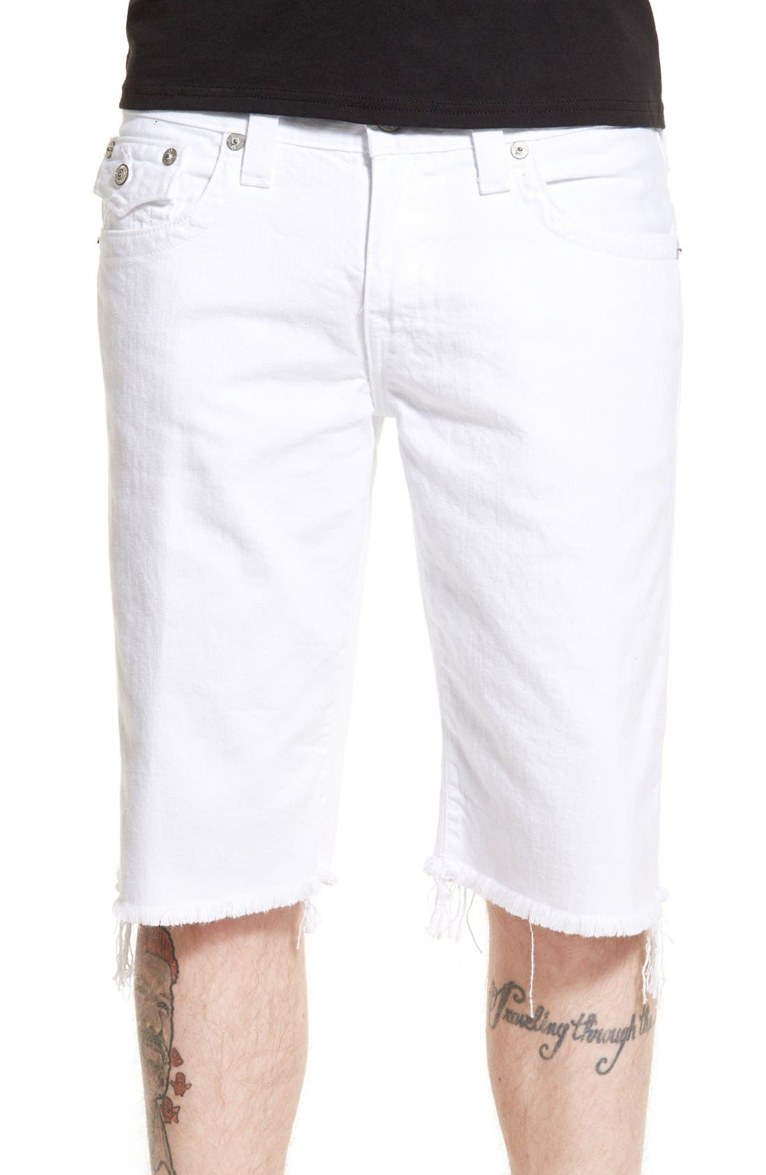 True Religion Brand Jeans 'Ricky' Cutoff Denim Shorts (Optic White)