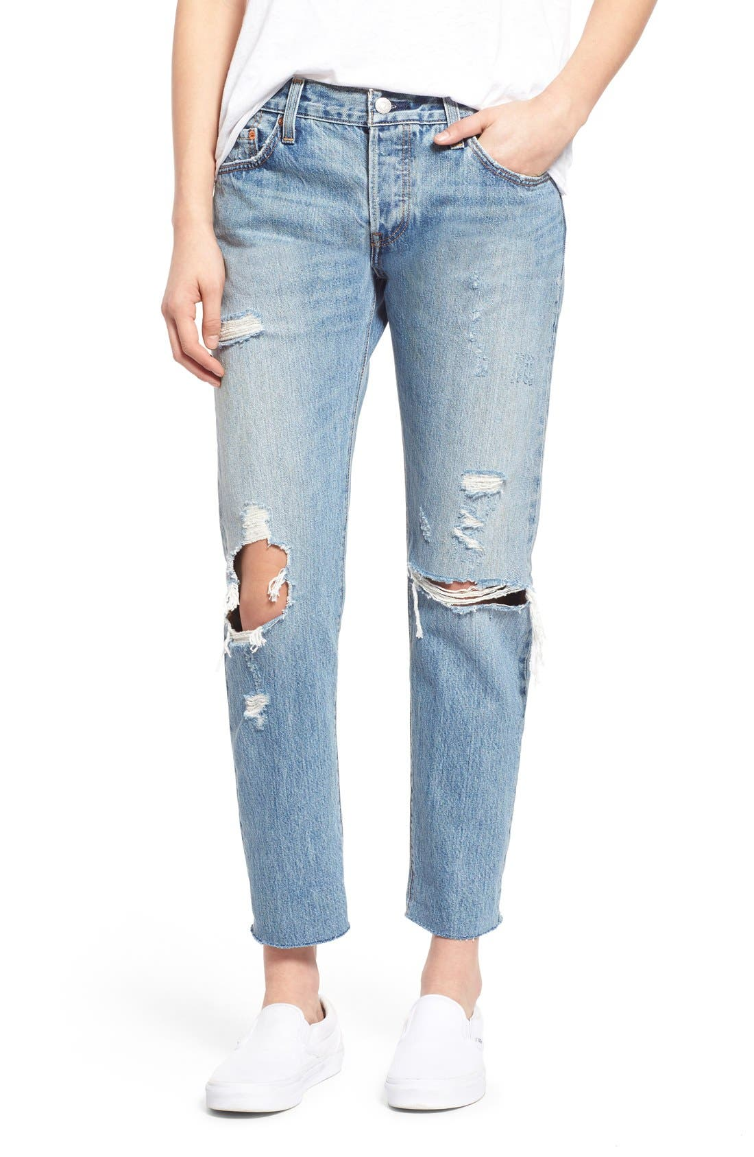 Alternate Image 1 Selected - Levi's® '501 CT' Crop Distressed Boyfriend Jeans (Time Gone By)