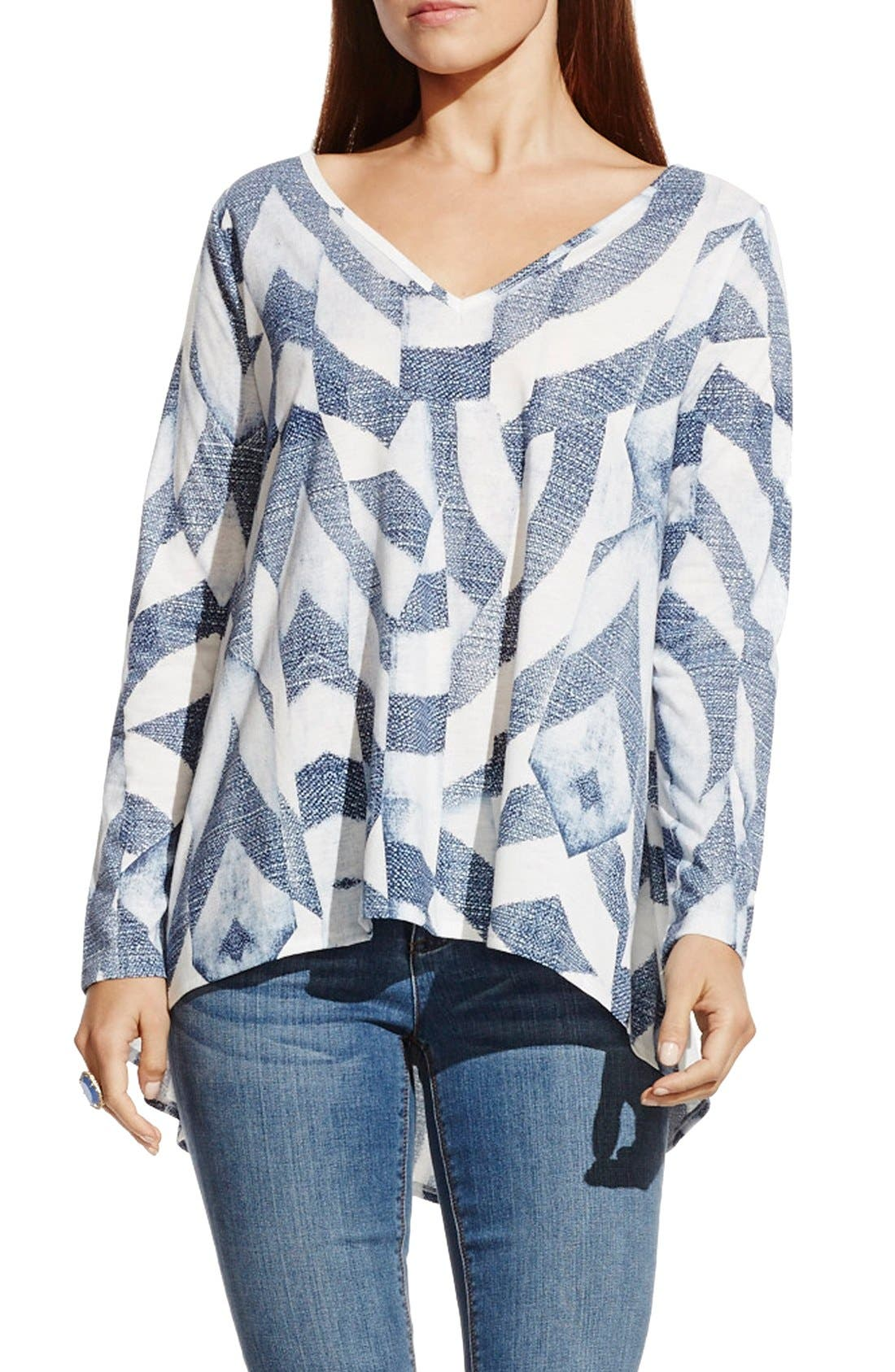 Main Image - Two by Vince Camuto 'Broken Maze' Print High/Low V-Neck Tunic