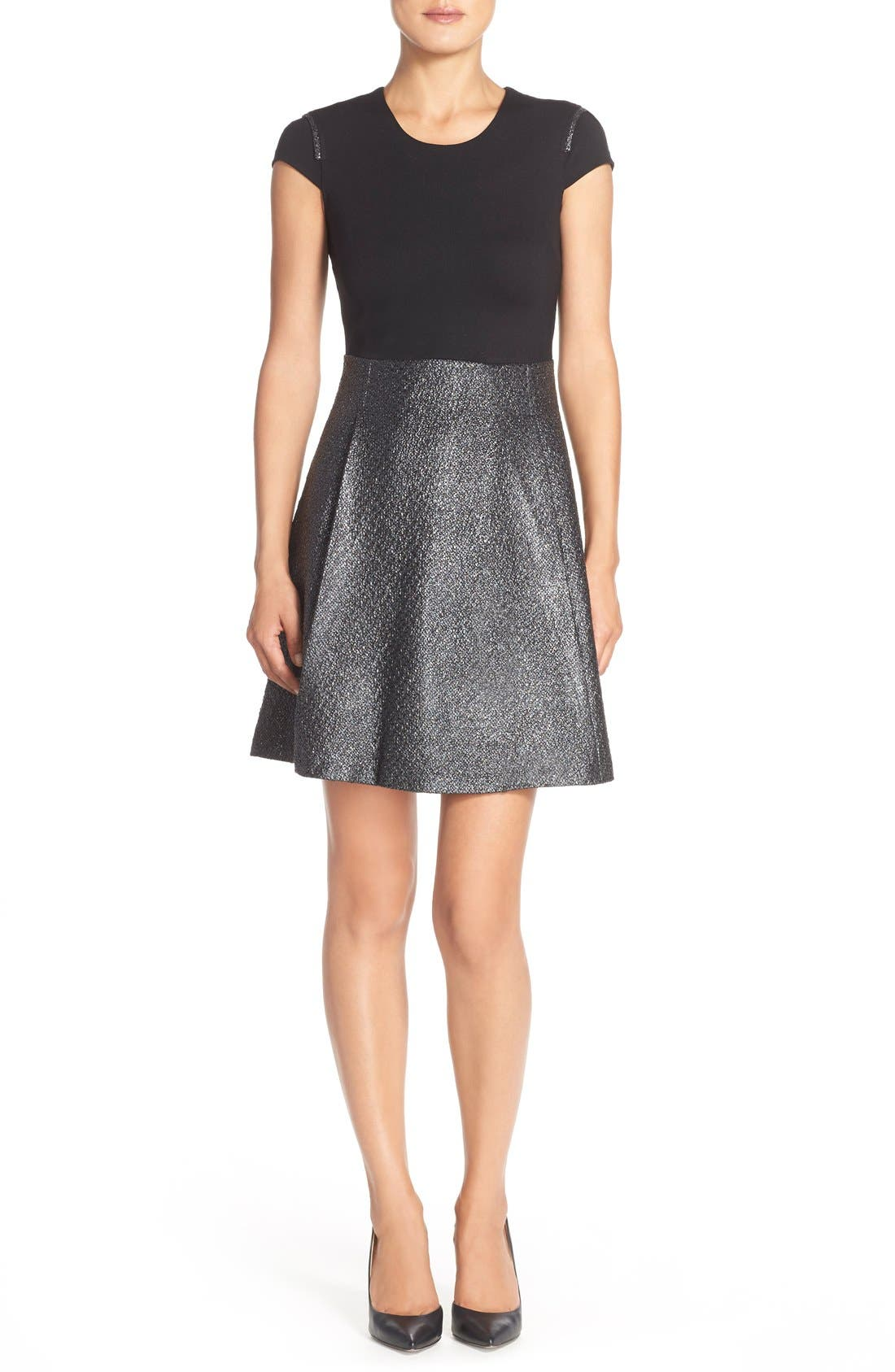 Main Image - Marc New York Foil Tweed A-Line Dress