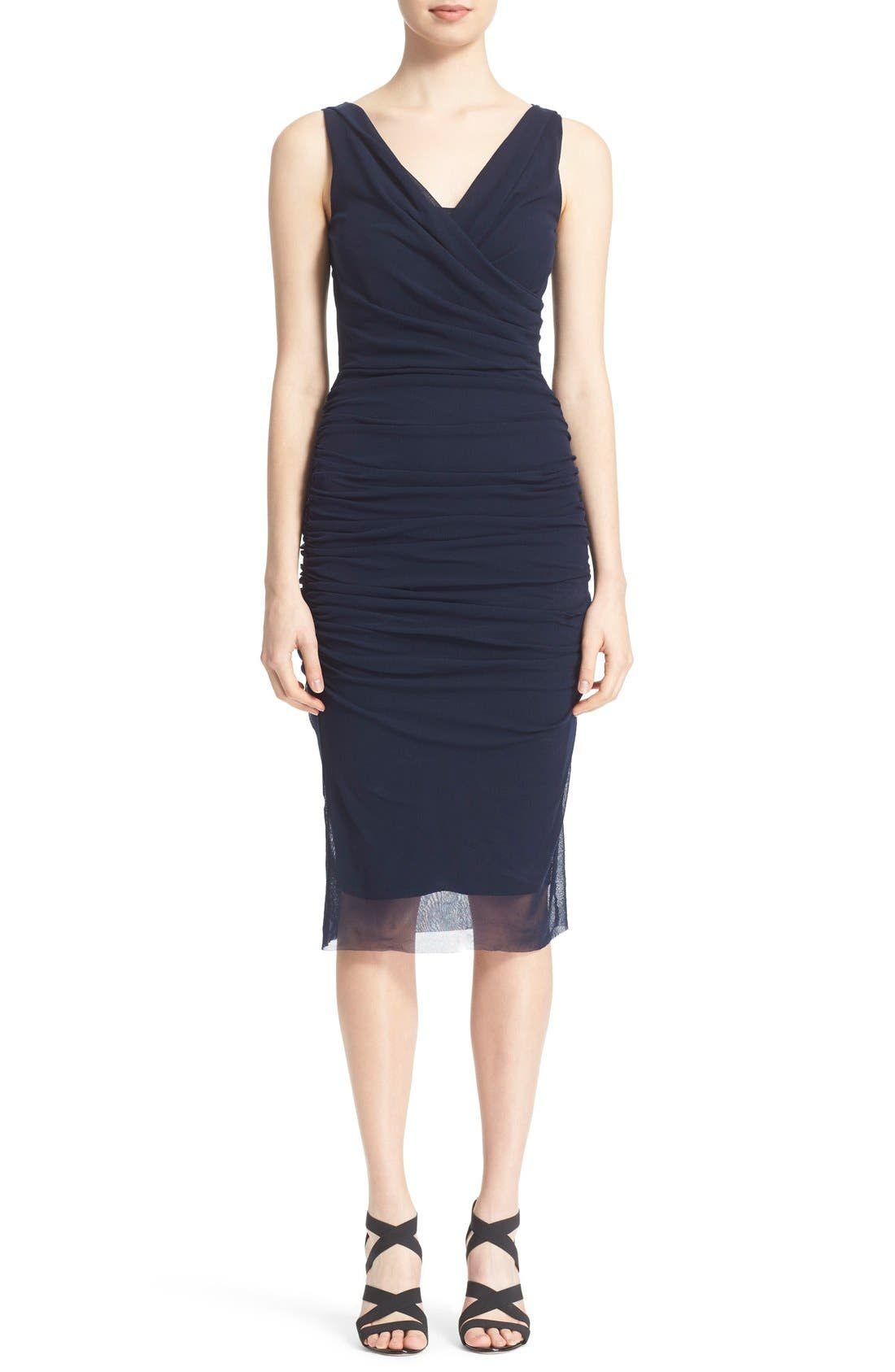 Alternate Image 1 Selected - Fuzzi Ruched Tulle Mesh Dress