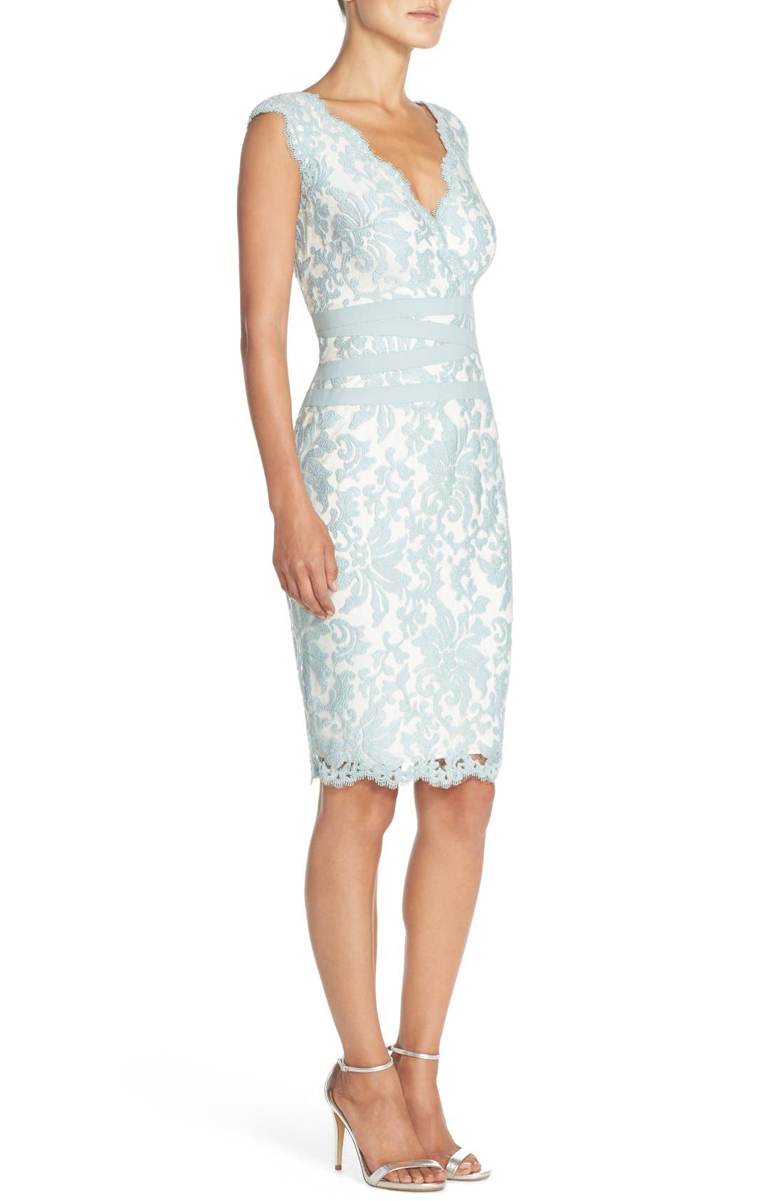 Alternate Image 3  - Tadashi Shoji Embroidered Lace Sheath Dress (Regular & Petite)