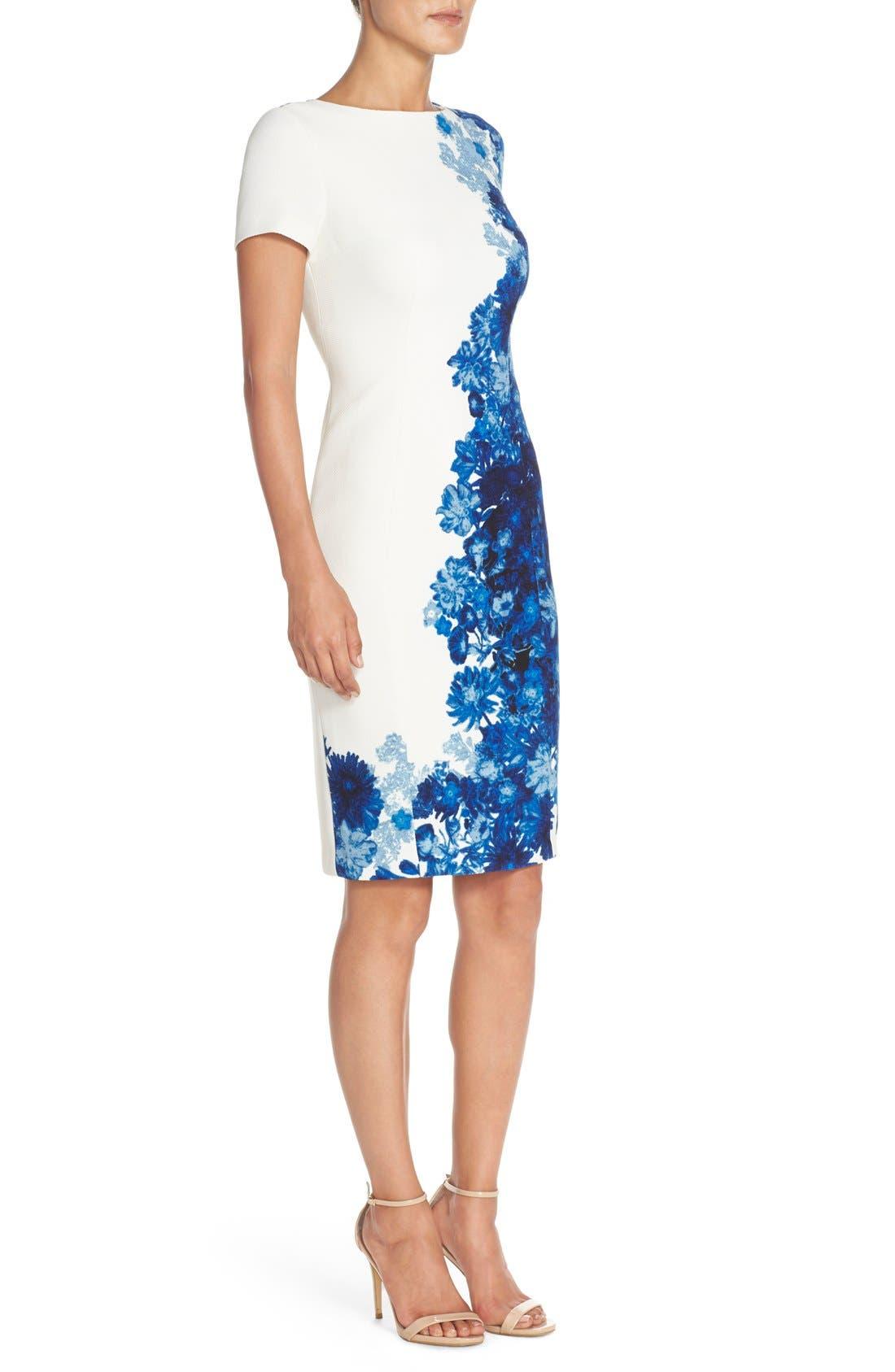 Alternate Image 3  - Adrianna Papell Floral Print Waffle Piqué Sheath Dress (Regualr & Petite)
