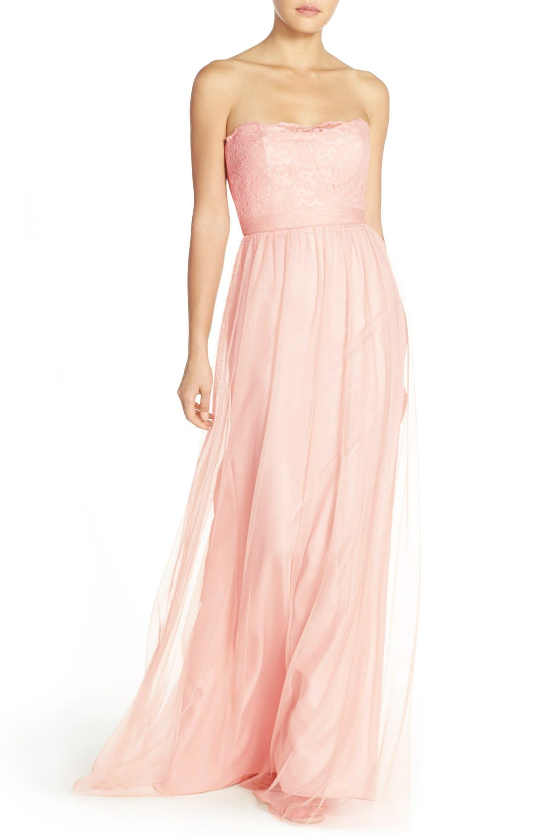 Alternate Image 1 Selected - Amsale 'Calla' Strapless Lace & Tulle Gown