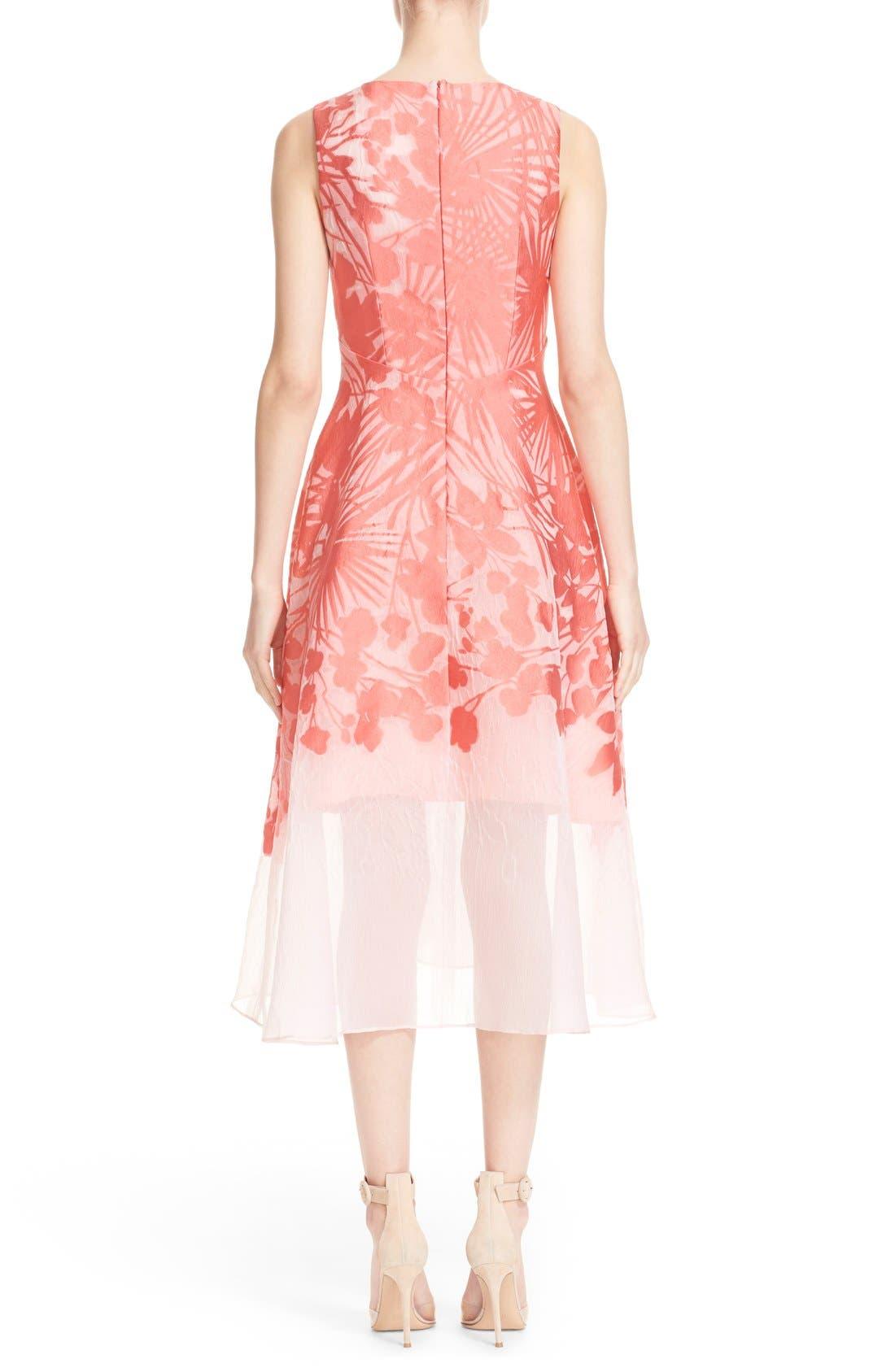 Alternate Image 2  - Lela Rose Floral Organza V-Neck Dress