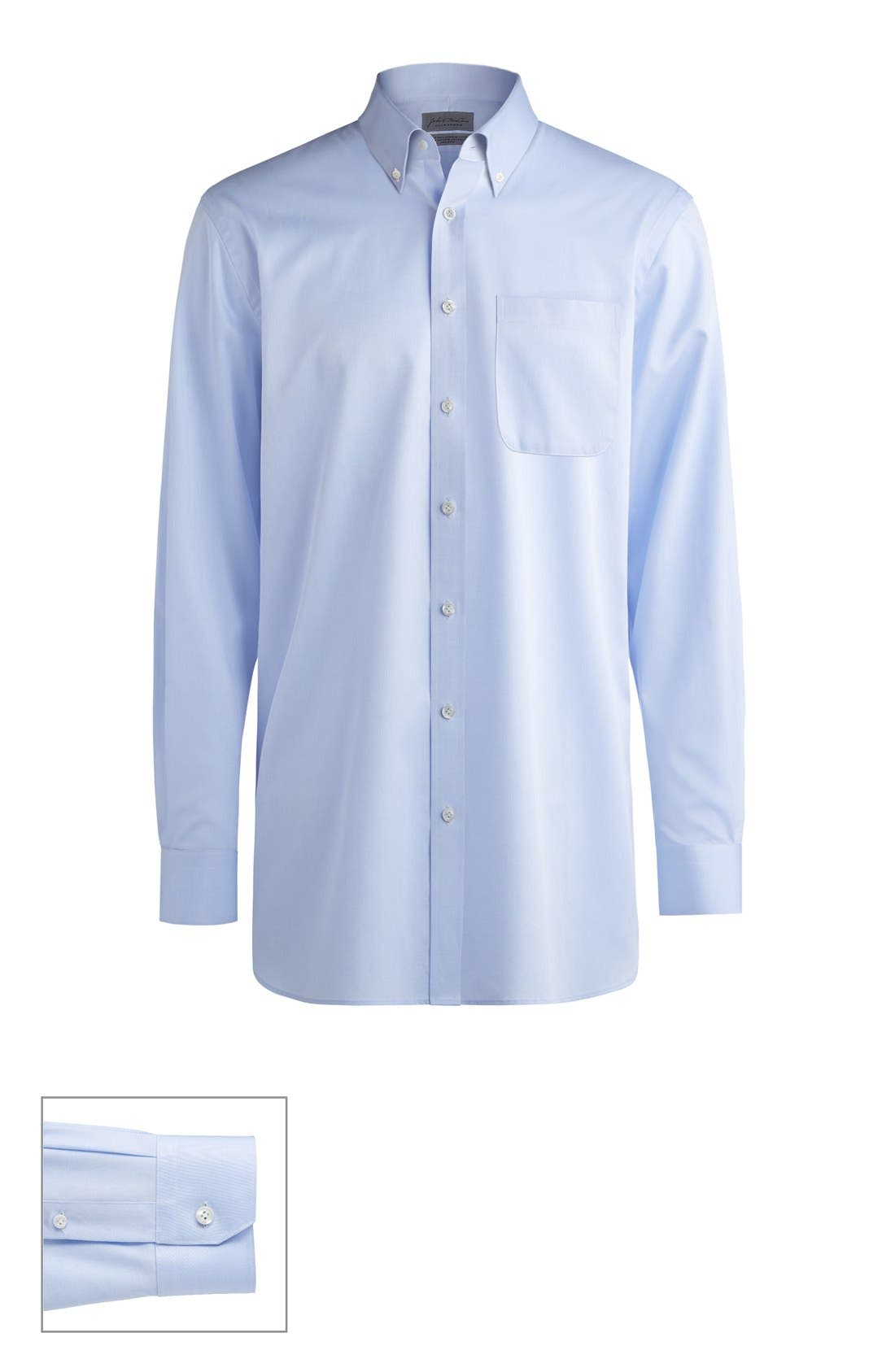 John W. Nordstrom® Made to Measure Trim Fit Button Down Collar Solid Dress Shirt